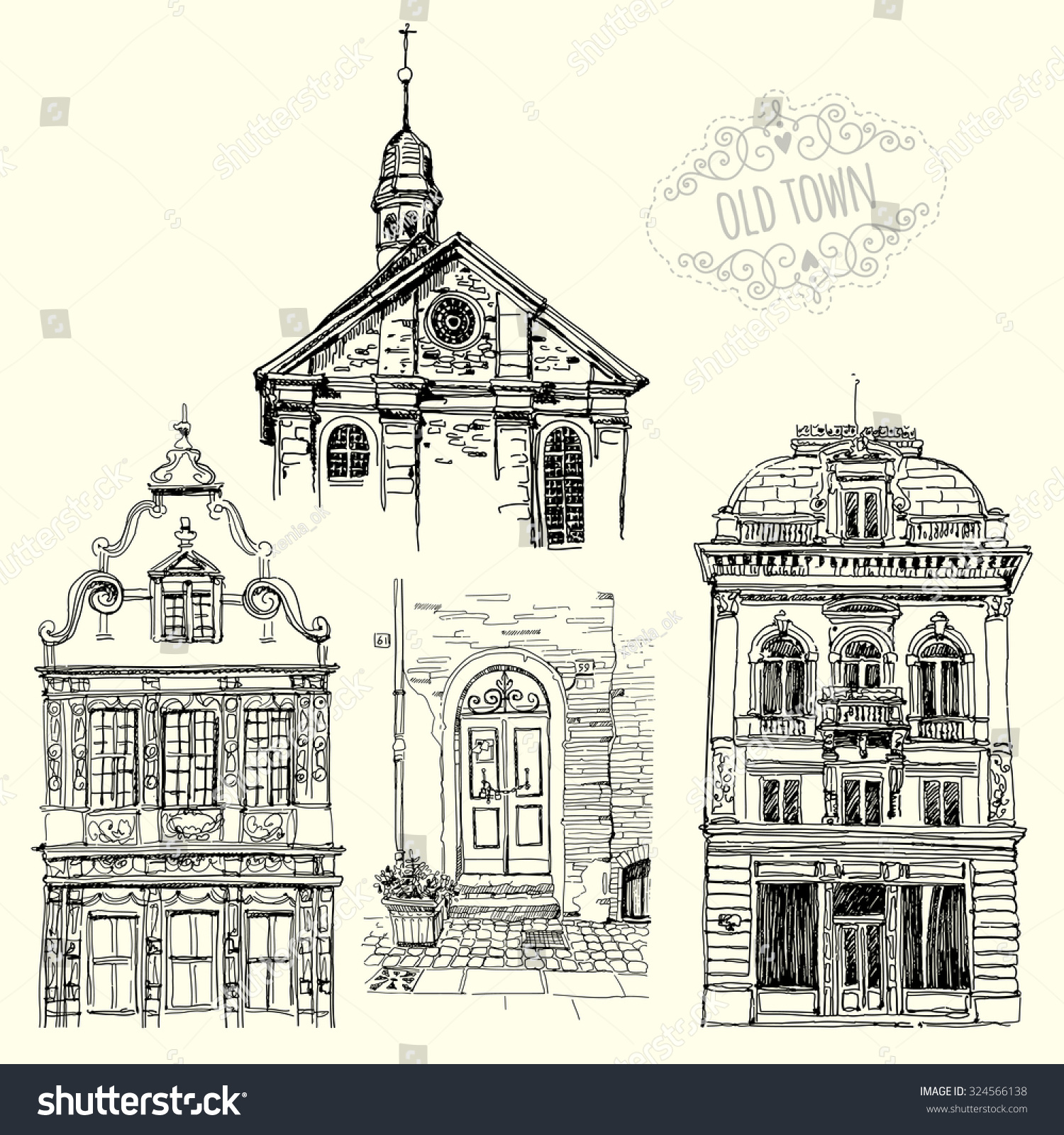 Set Drawings Old Buildings Sketches Old Stock Vector 324566138