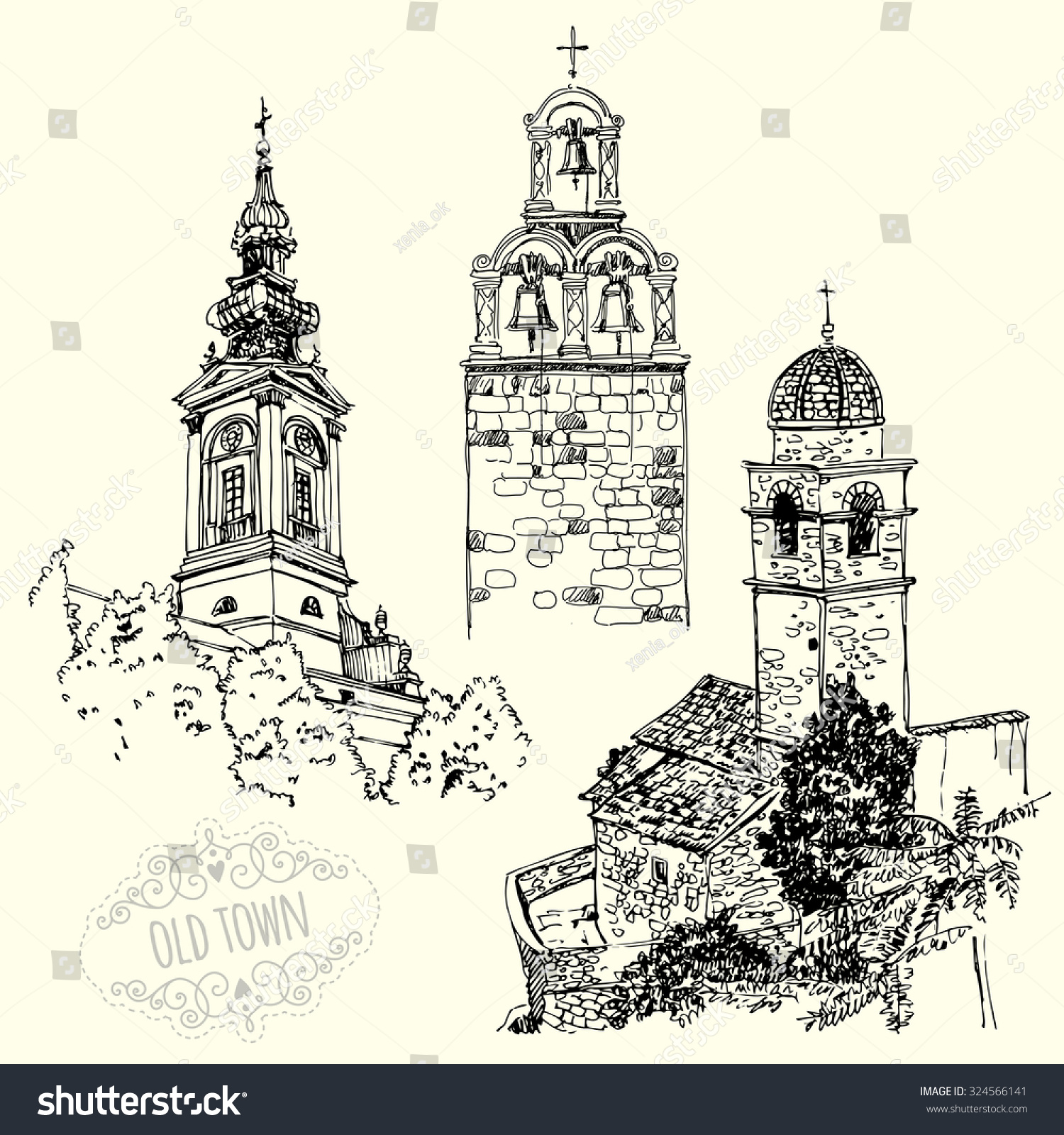 A set of drawings with ancient churches sketches old city freehand drawing