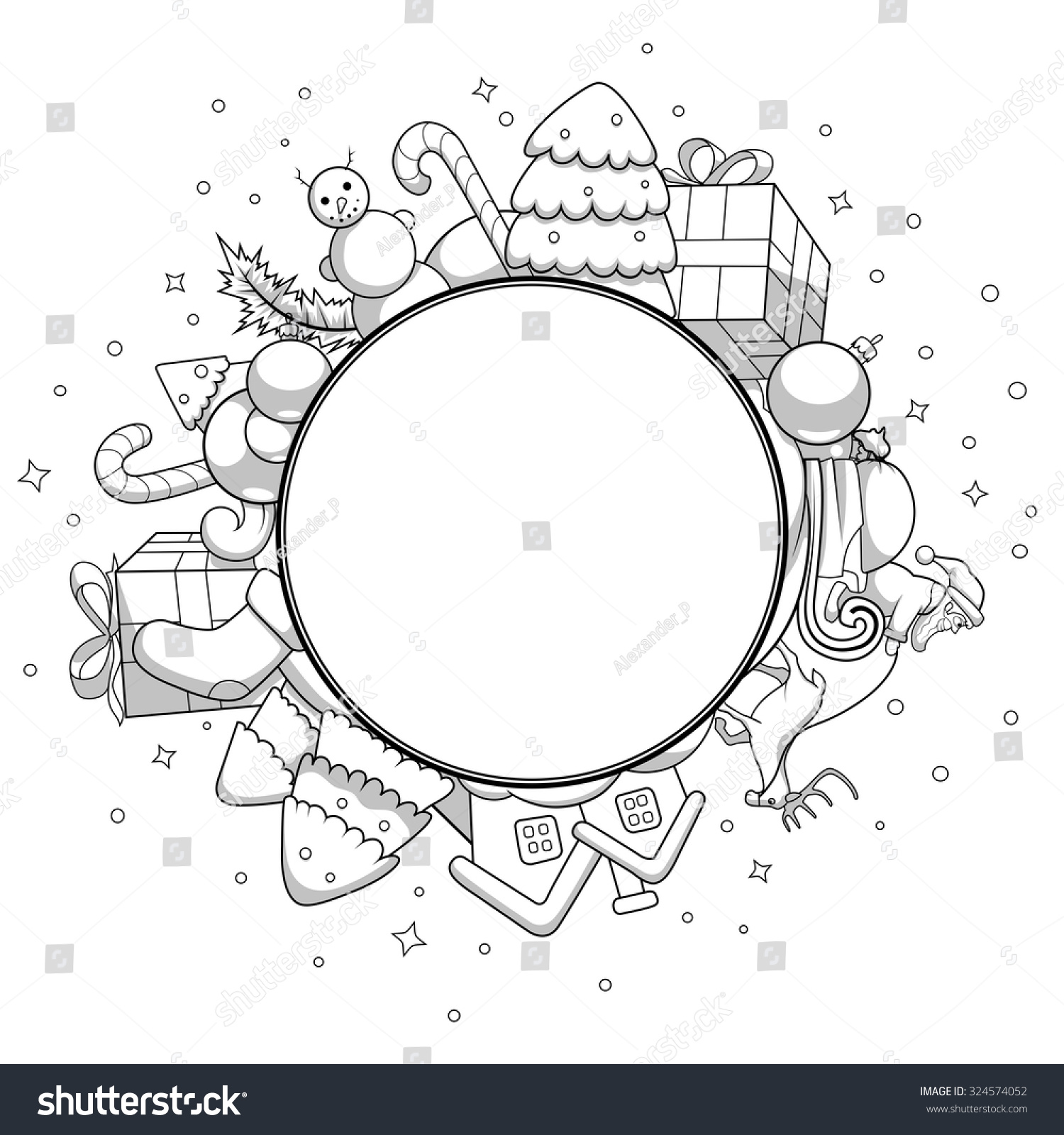 Vector Colorless Illustration Christmas Greeting Card Stock Vector