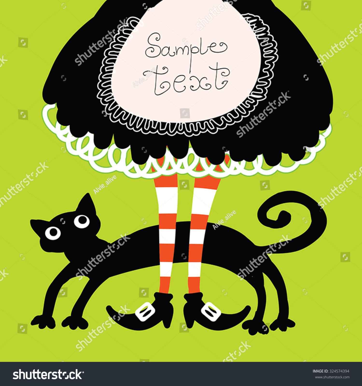 halloween retro cartoon witch legs boots stock vector 324574394