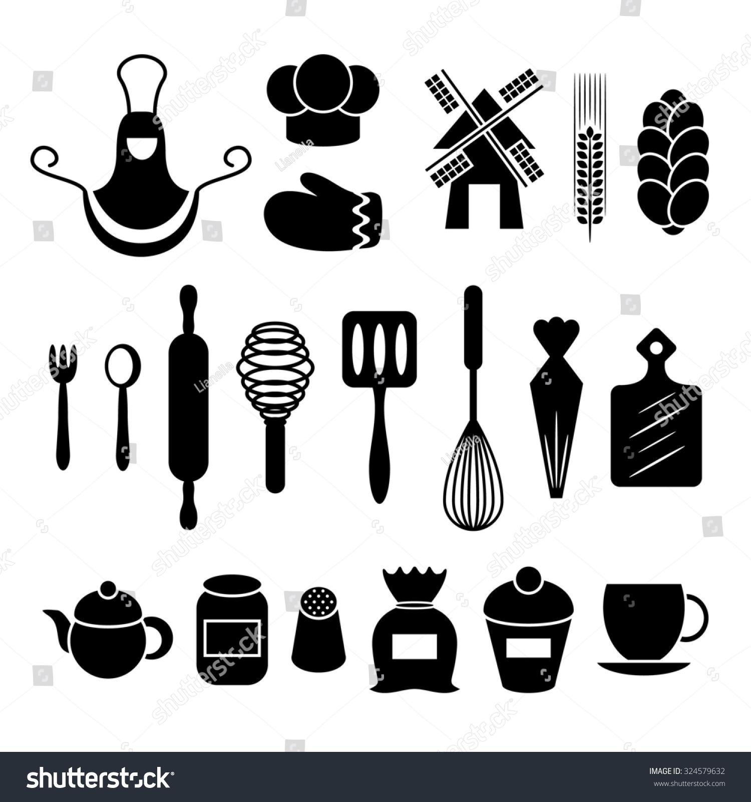 White tea apron - Baking Kitchen Tools Silhouettes Set Apron Gauntlet Spoon Flour Rolling