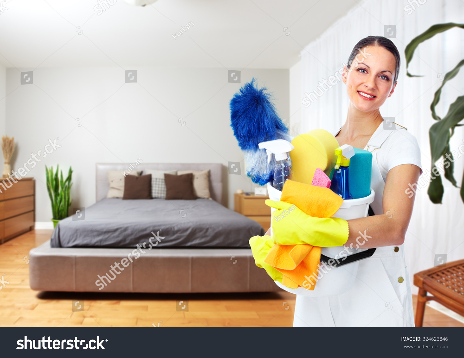 Maid Woman Tools House Cleaning Service Stock Photo