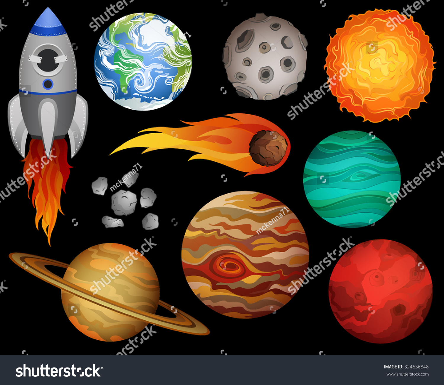 Planets and outer space design elements vector 324636848 for Outer space design