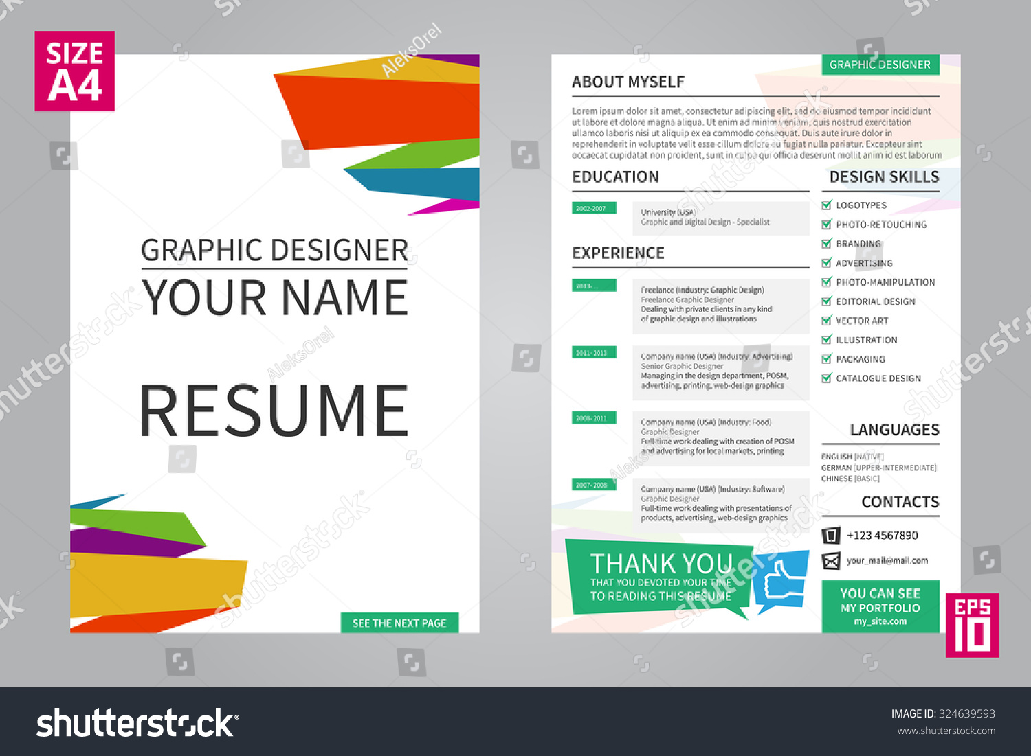 vector minimalist cv resume template for graphic designer with title front page cv - Resume Templates For Graphic Designers