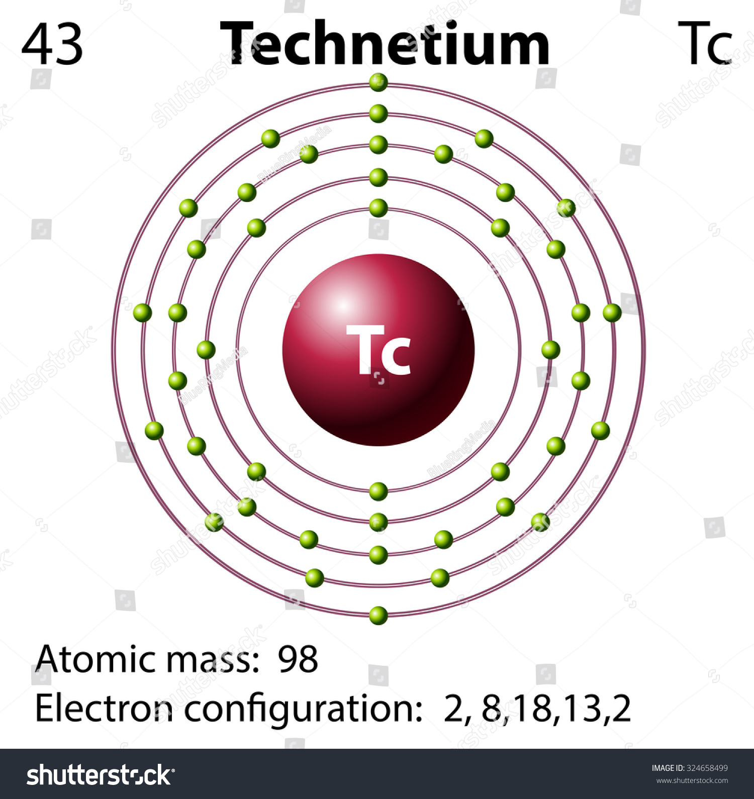 Symbol Electron Diagram Technetium Illustration Stock Vector