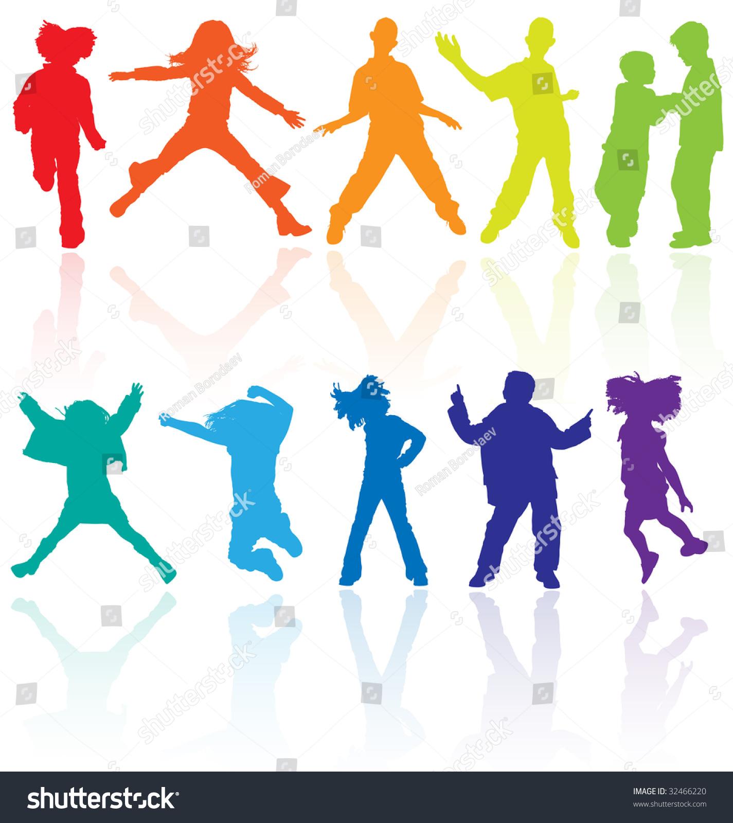 kids kid dance dancing silhouette child stock vector
