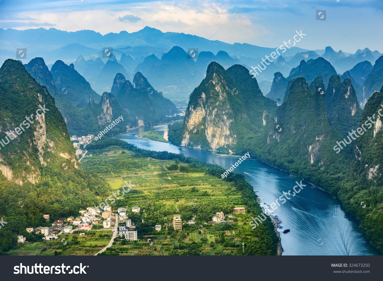 Landscape guilin li river karst mountains stock photo for Nearby landscapers