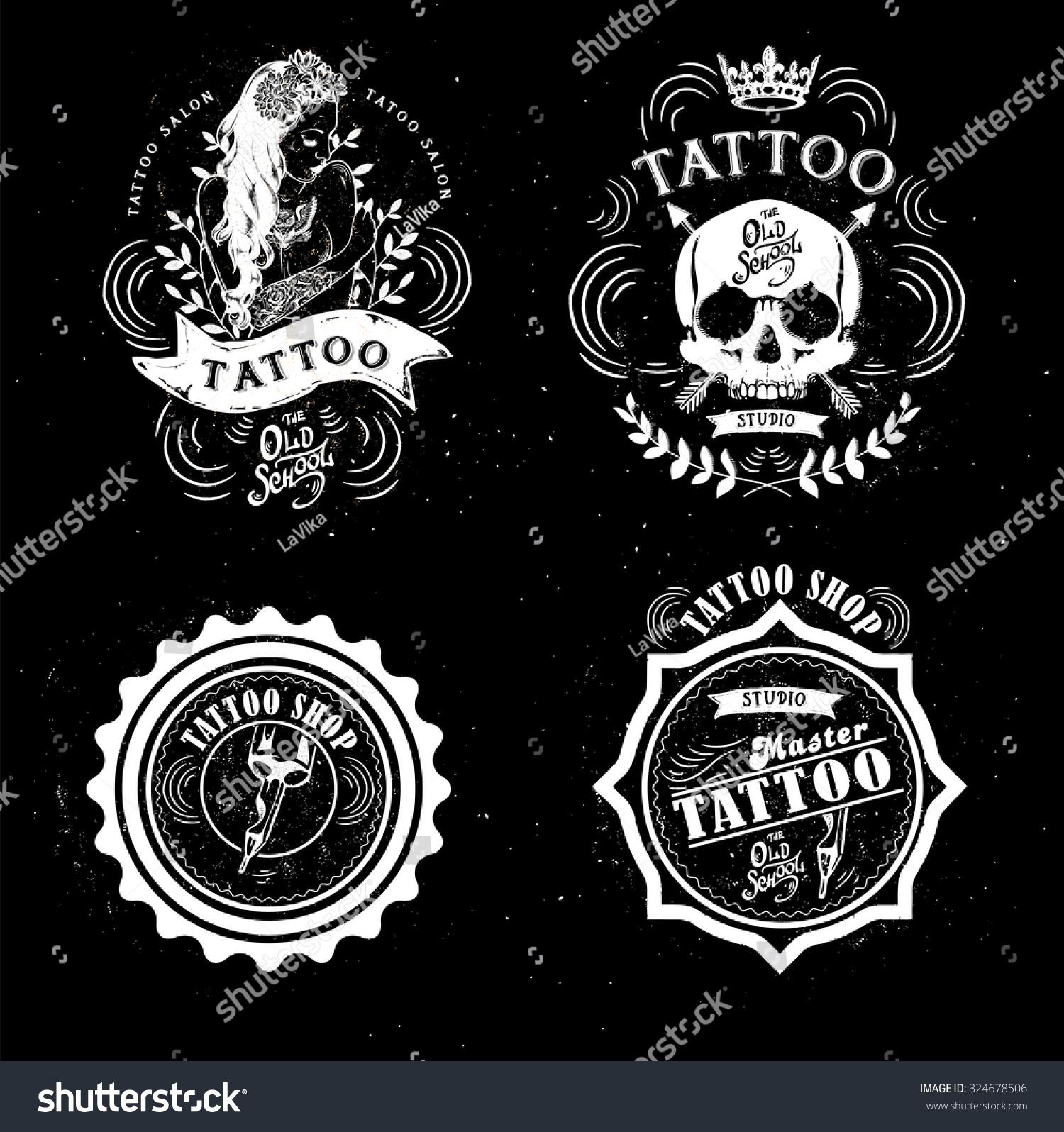 Cool Tattoo Backgrounds: Set Vector Tattoo Studio Logo Templates Stock Vector