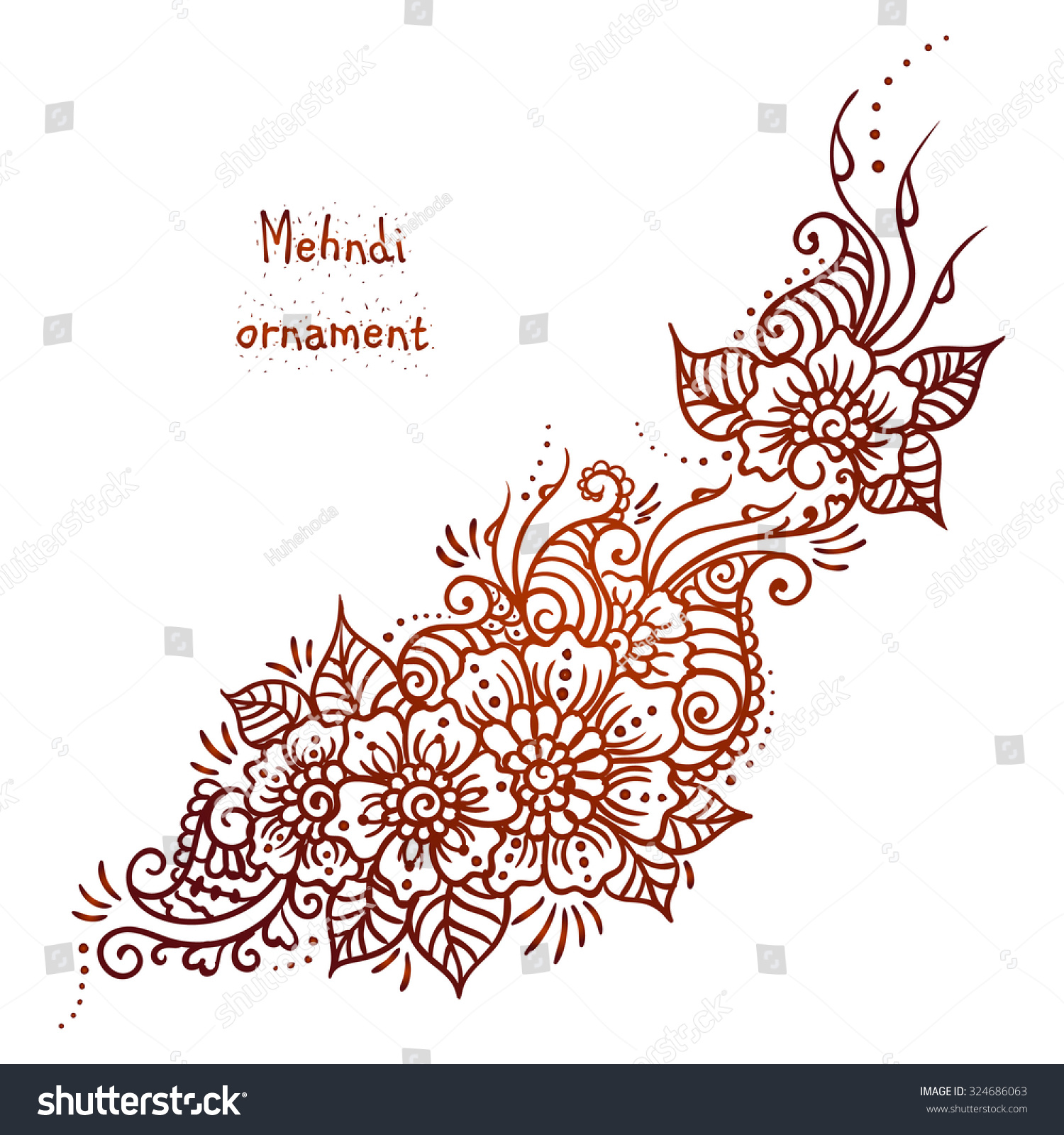 Mehndi Hand Outline : Vector ethnic mehndi pattern template stock