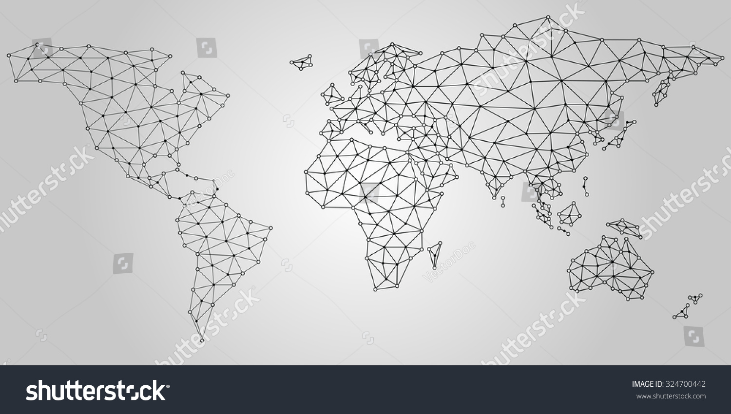 World Map Lines Dots Circles Connection Stock Vector Royalty Free