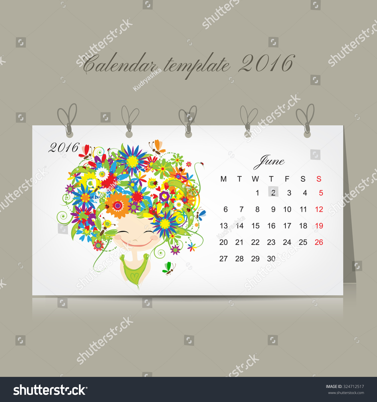 Calendar Month Illustration : Calendar june month season girls stock vector