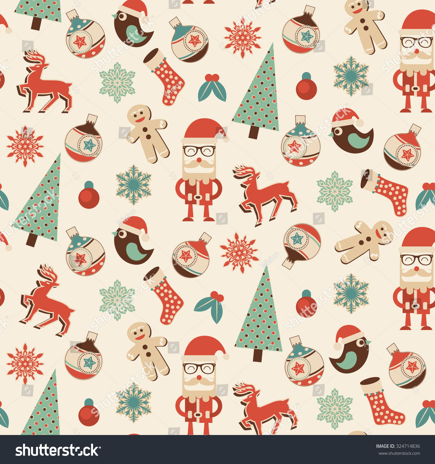 Christmas Gift Wrap Design.Seamless Christmas Pattern Ideal Design Gift Stock Vector