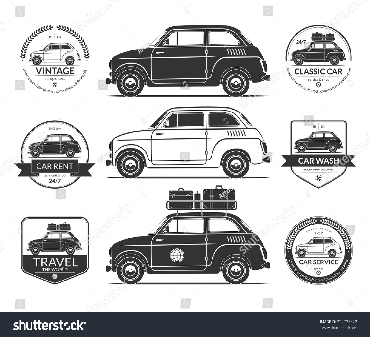 Set Small Classic Car Silhouettes Vintage Stock Vector (2018 ...