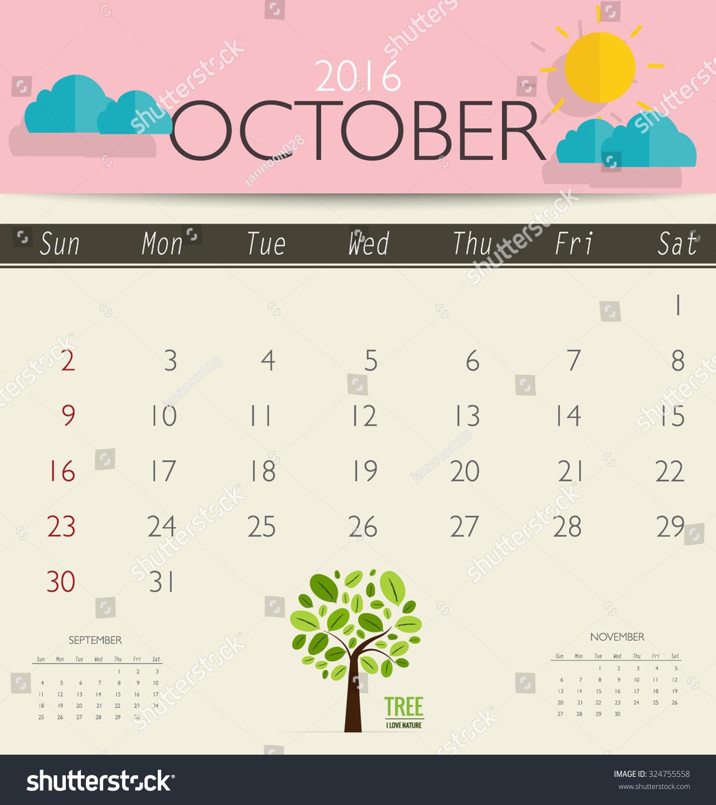 October Calendar Illustration : Calendar monthly template for october