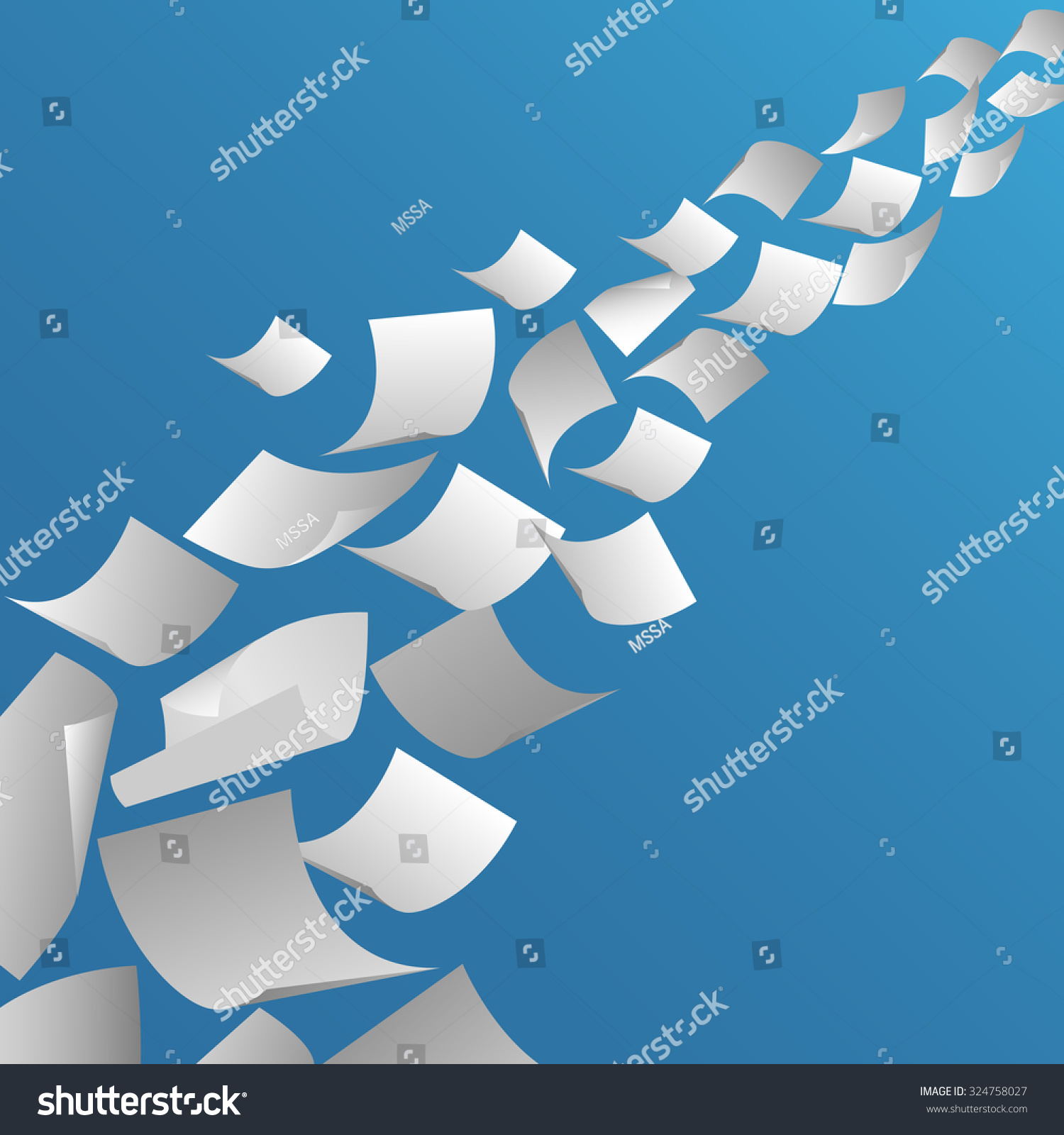 White Paper Sheets Flying In The Air. Fly Page Blank ...