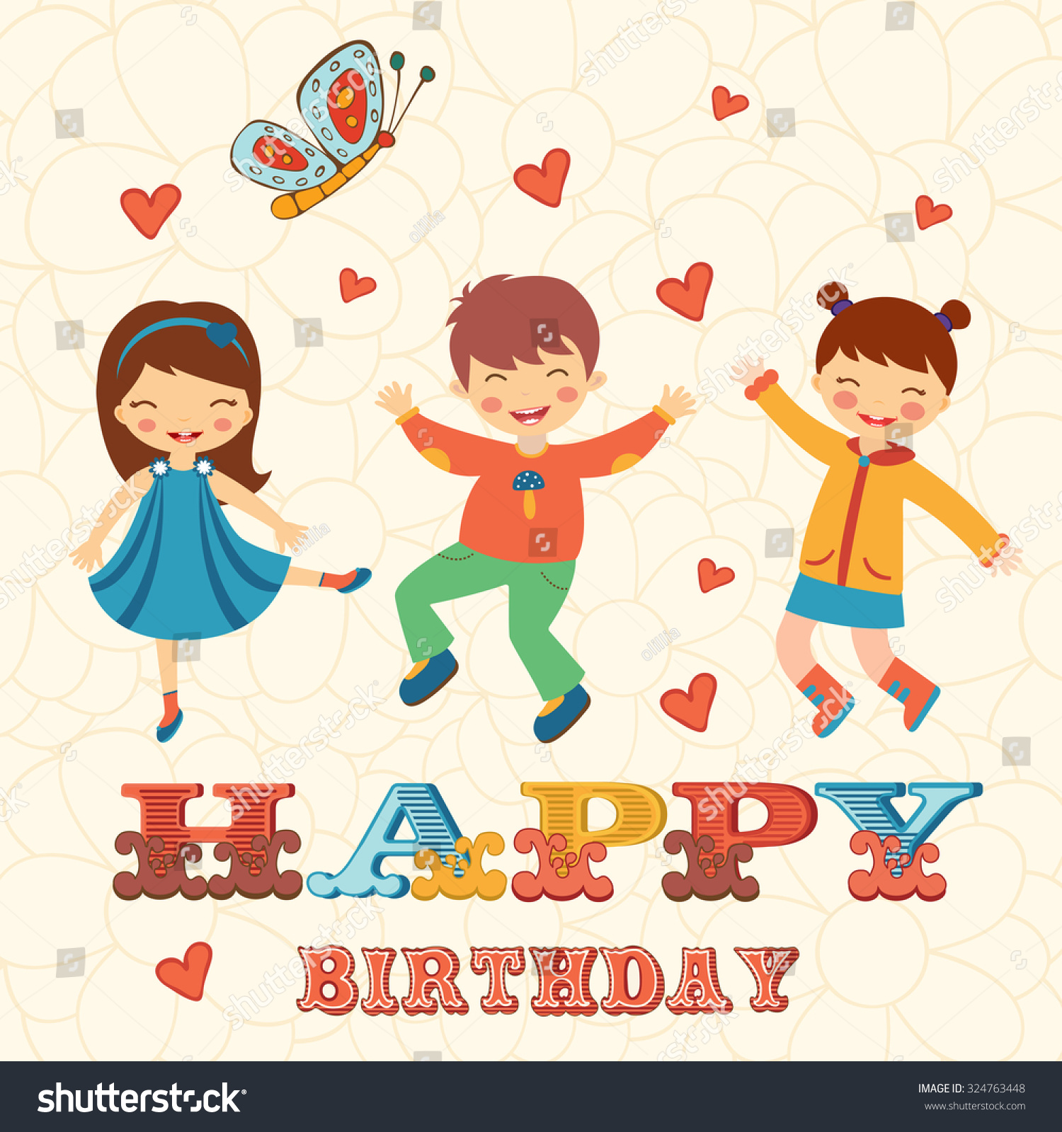 Stylish Happy Birthday Card Cute Kids Stock Vector