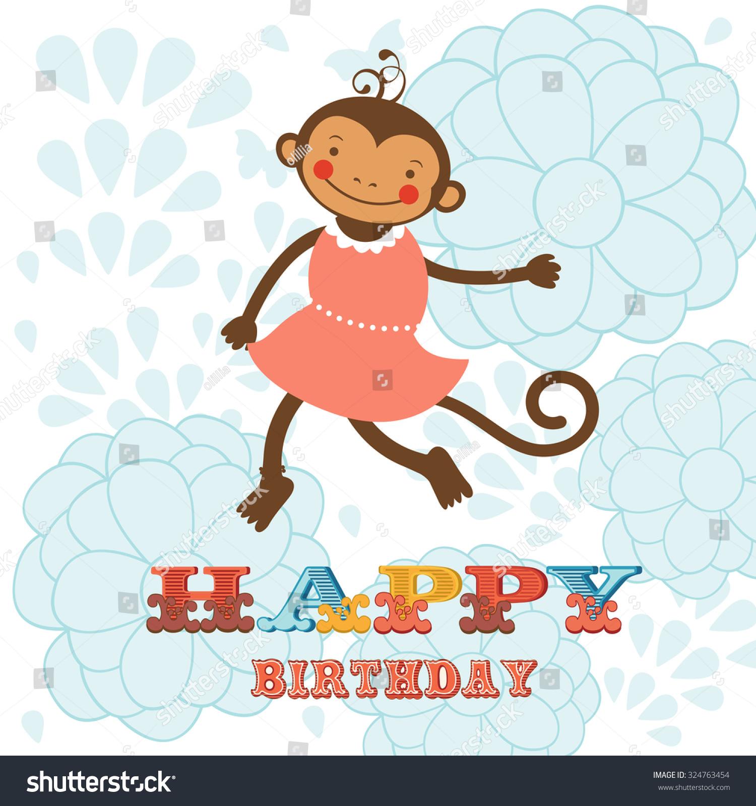 Happy birthday to you обезьяны открытка 33