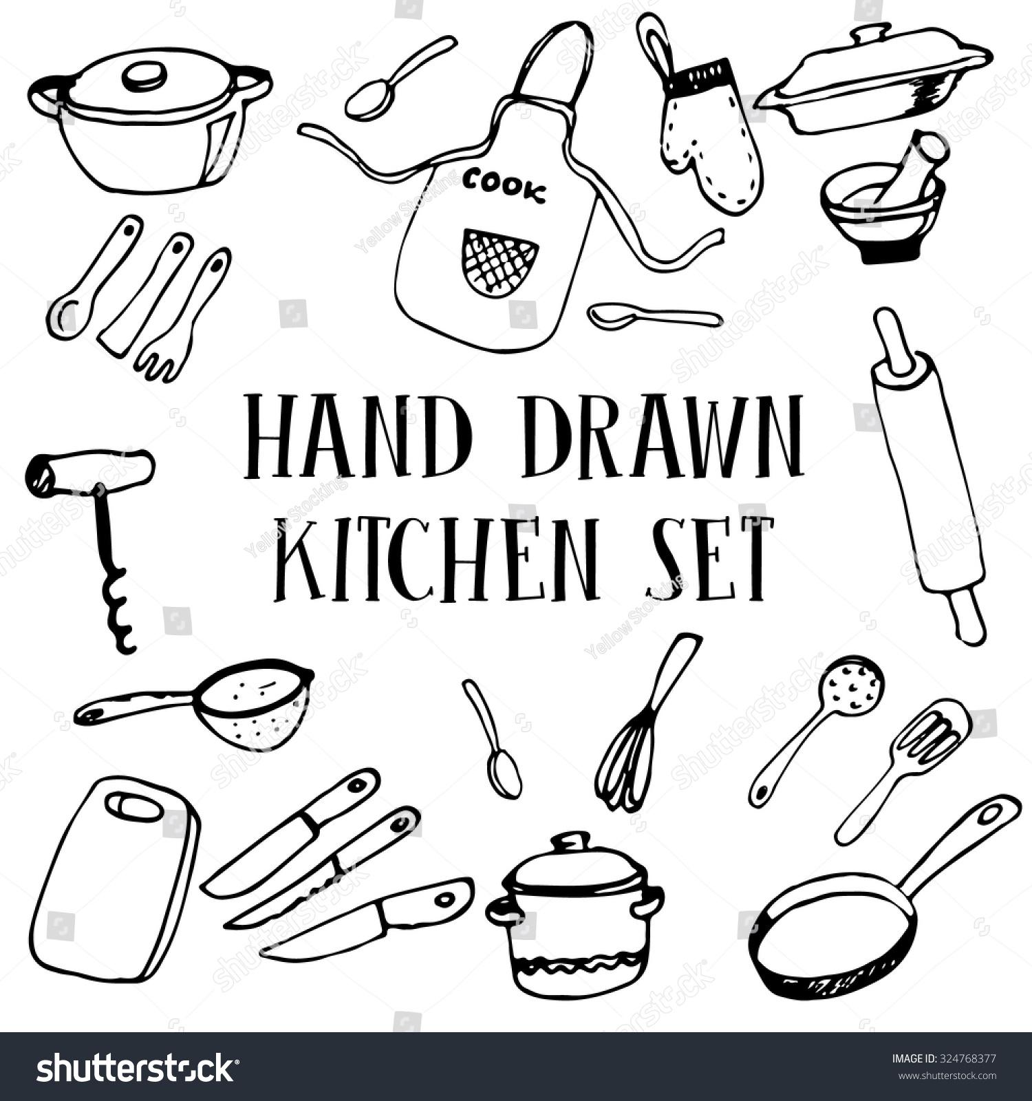 Hand Drawn Set Kitchen Tools Utensils Stock Vector