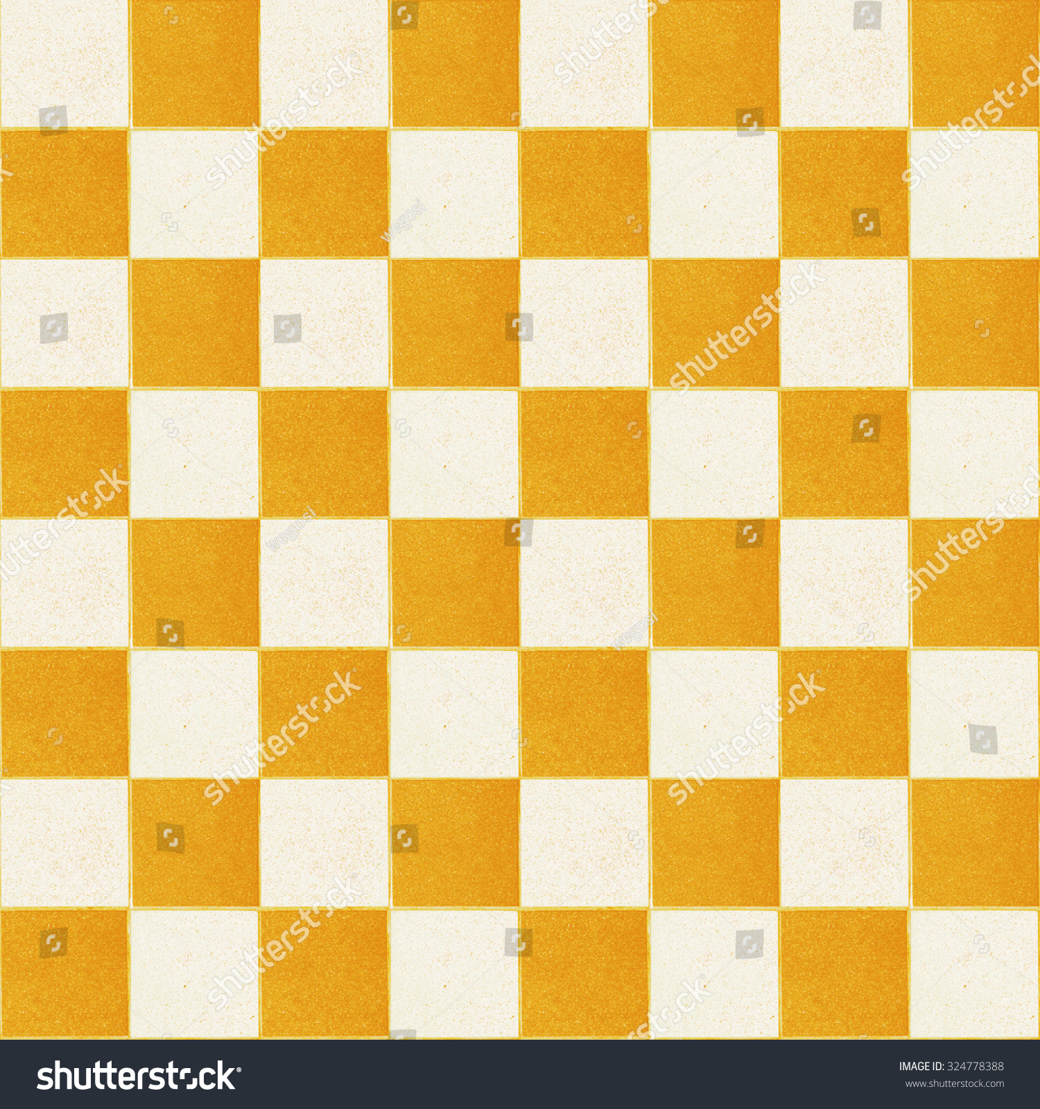 Old Checker Yellow Chess Square Tiles Stock Photo