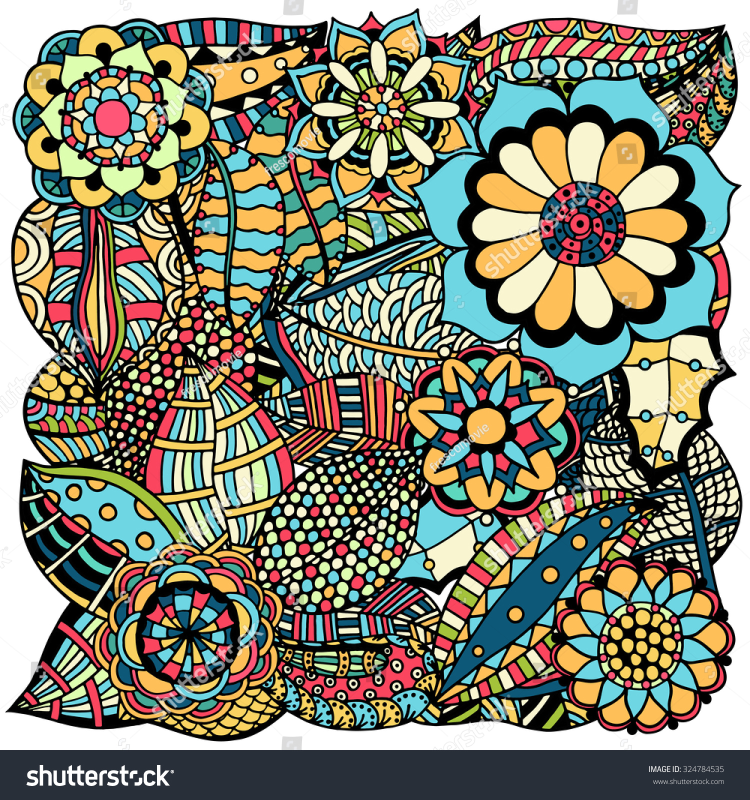 Colorful Henna Designs: Ethnic Colored Floral Zentangle Doodle Background Stock