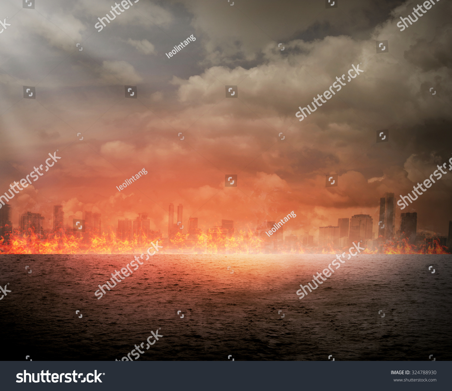 Burning city Disaster concept You can put your design on the city