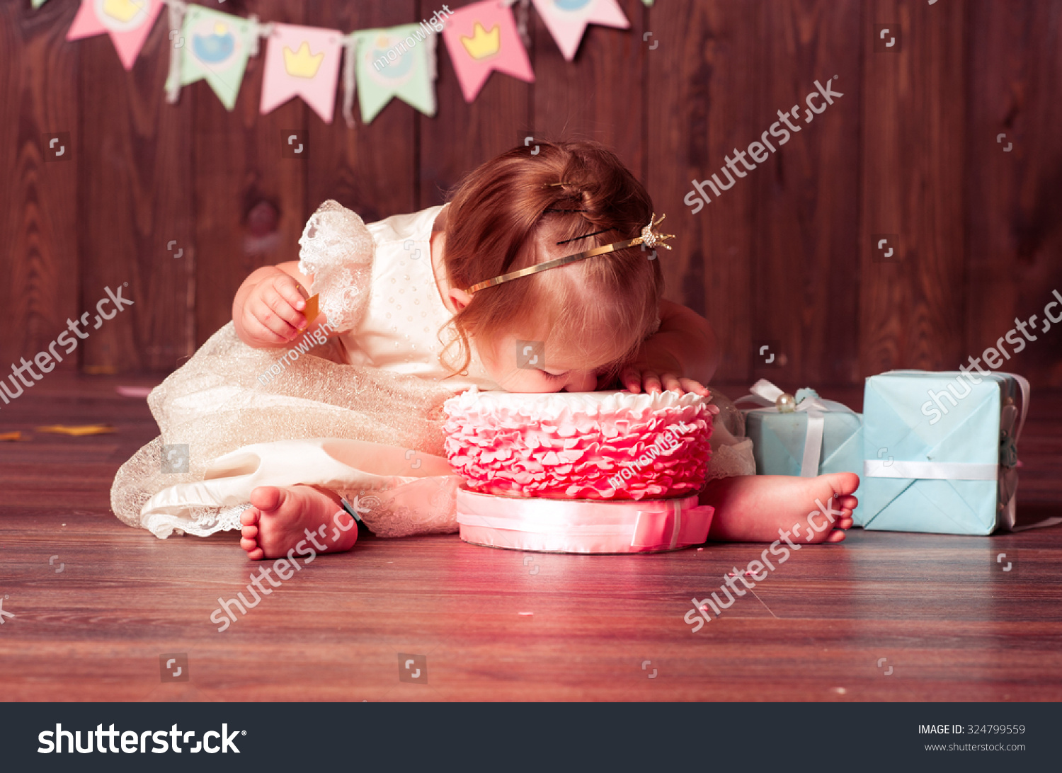 ... first birthday in room. Eating cake. Birthday decoration. Childhood