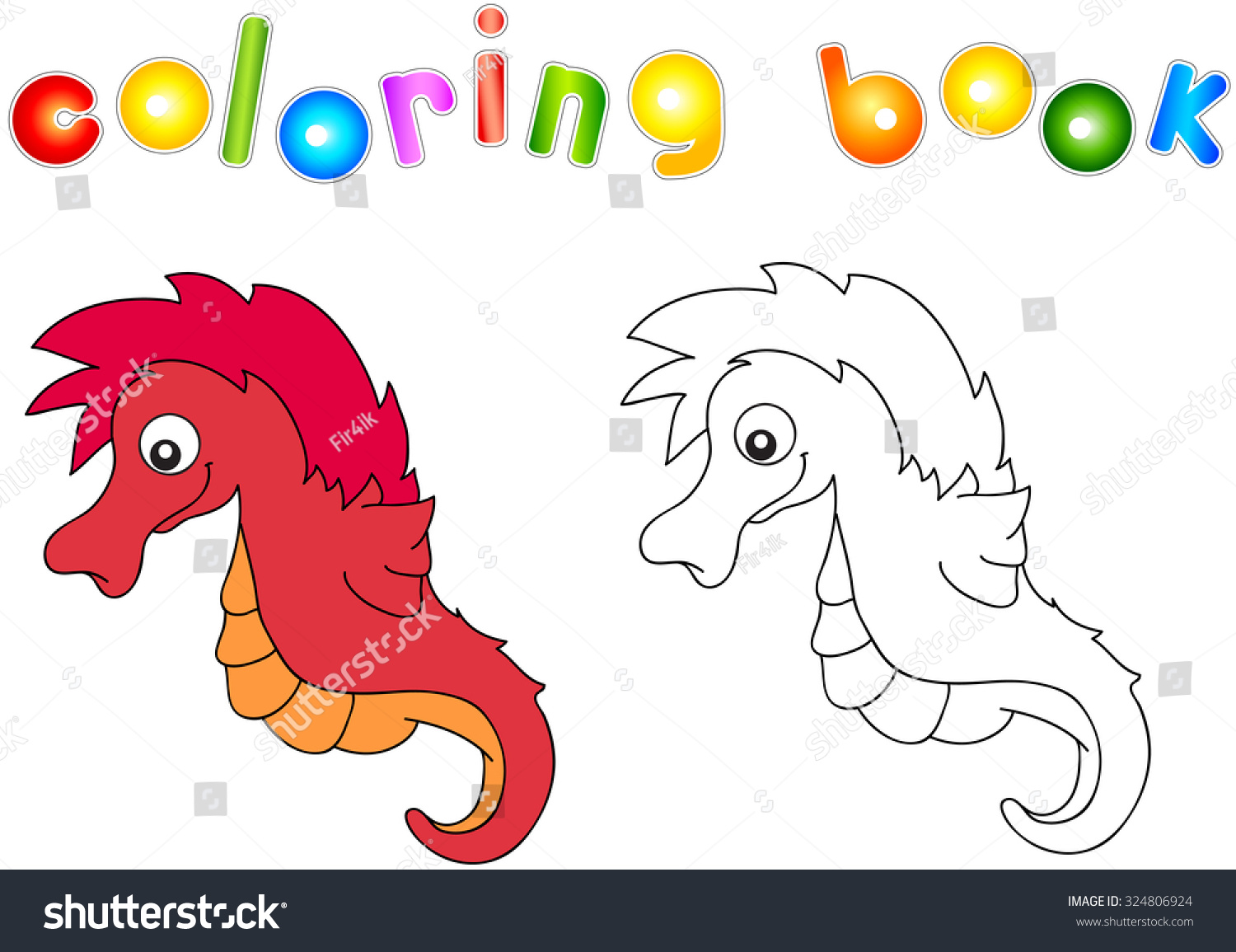 Funny Friendly Cartoon Seahorse Coloring Book Stock Photo (Photo ...