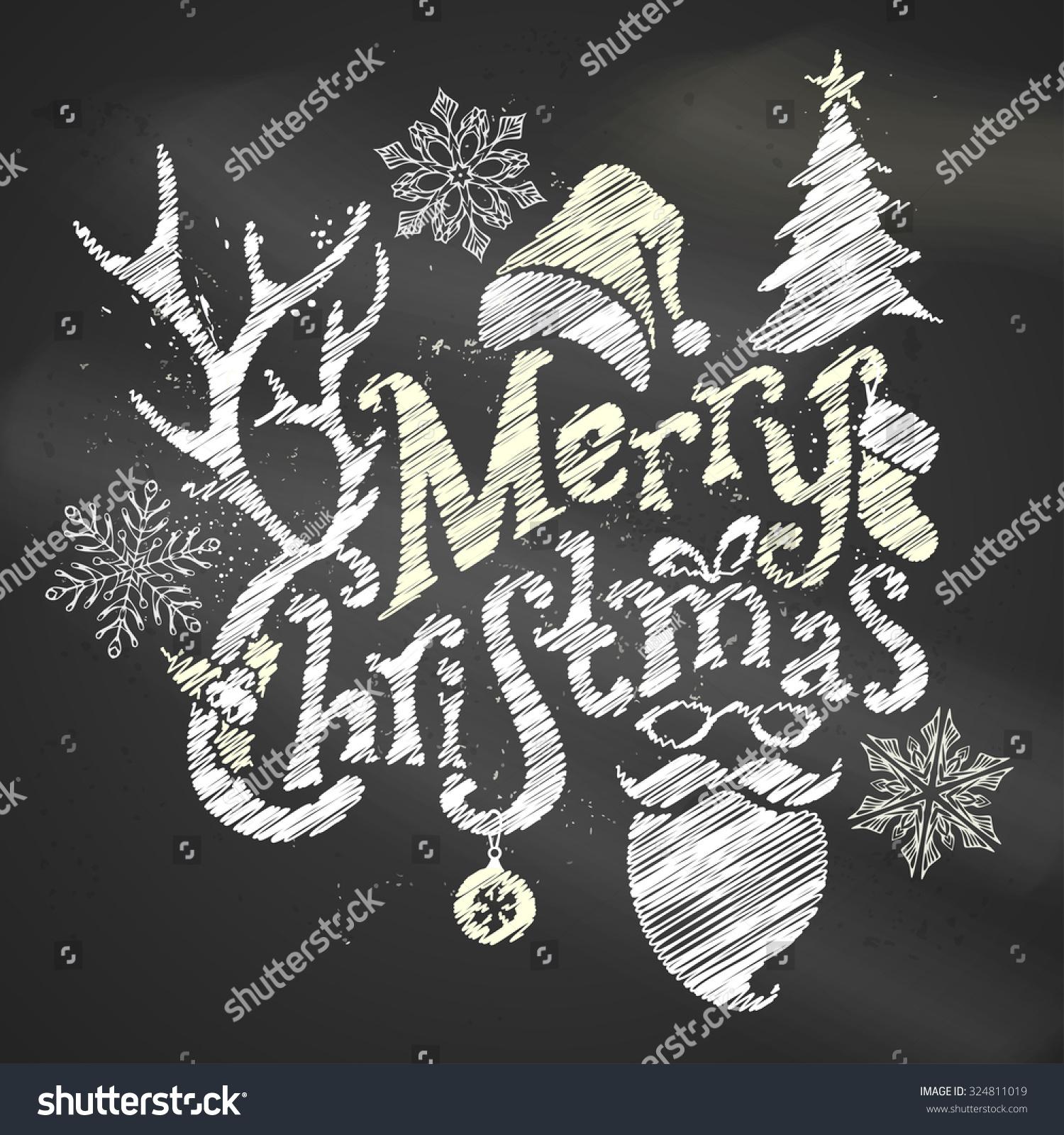 chalk merry christmas design handwritten text stock vector