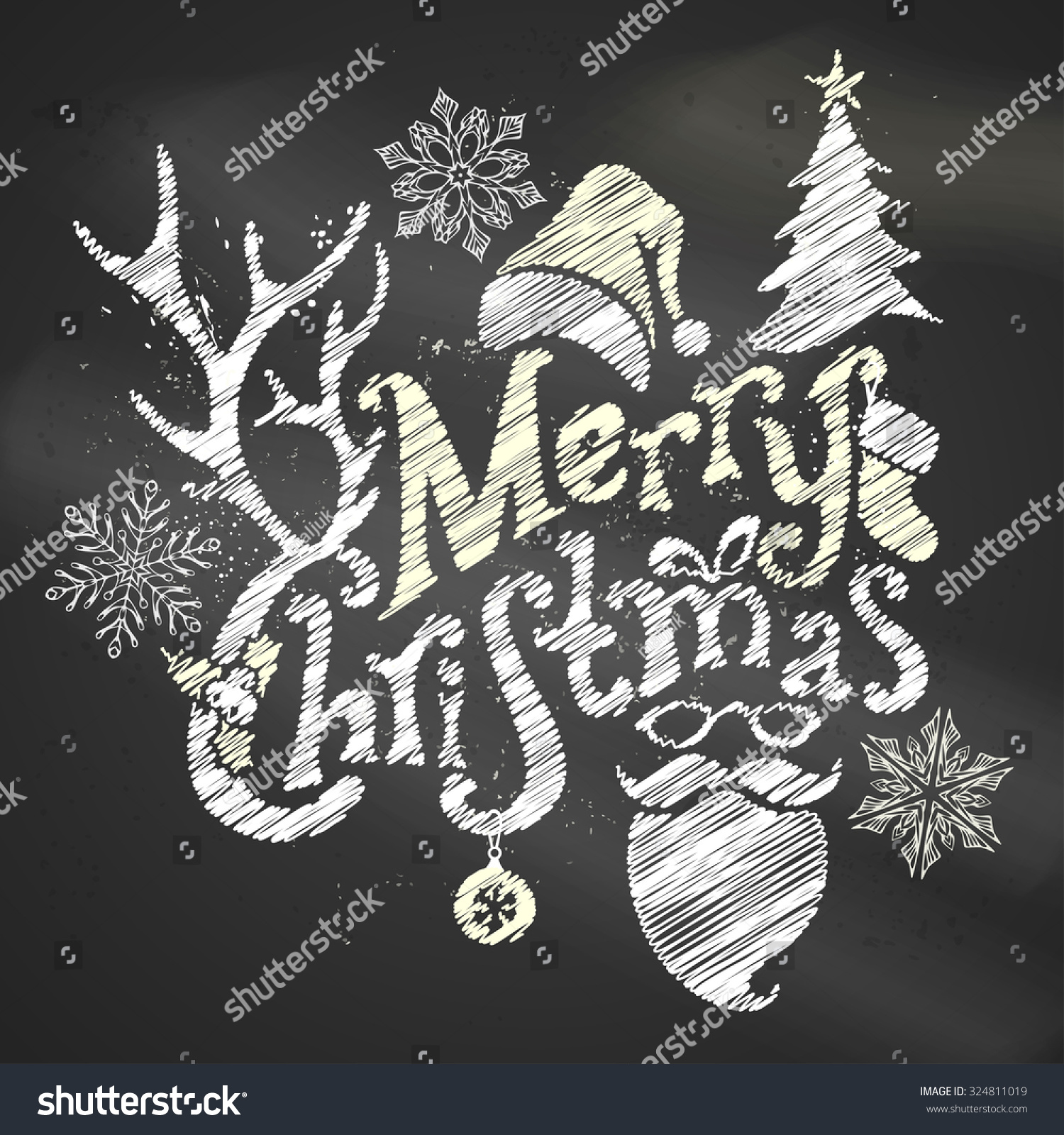 Chalk Merry Christmas Design Handwritten Text Stock Vector Royalty