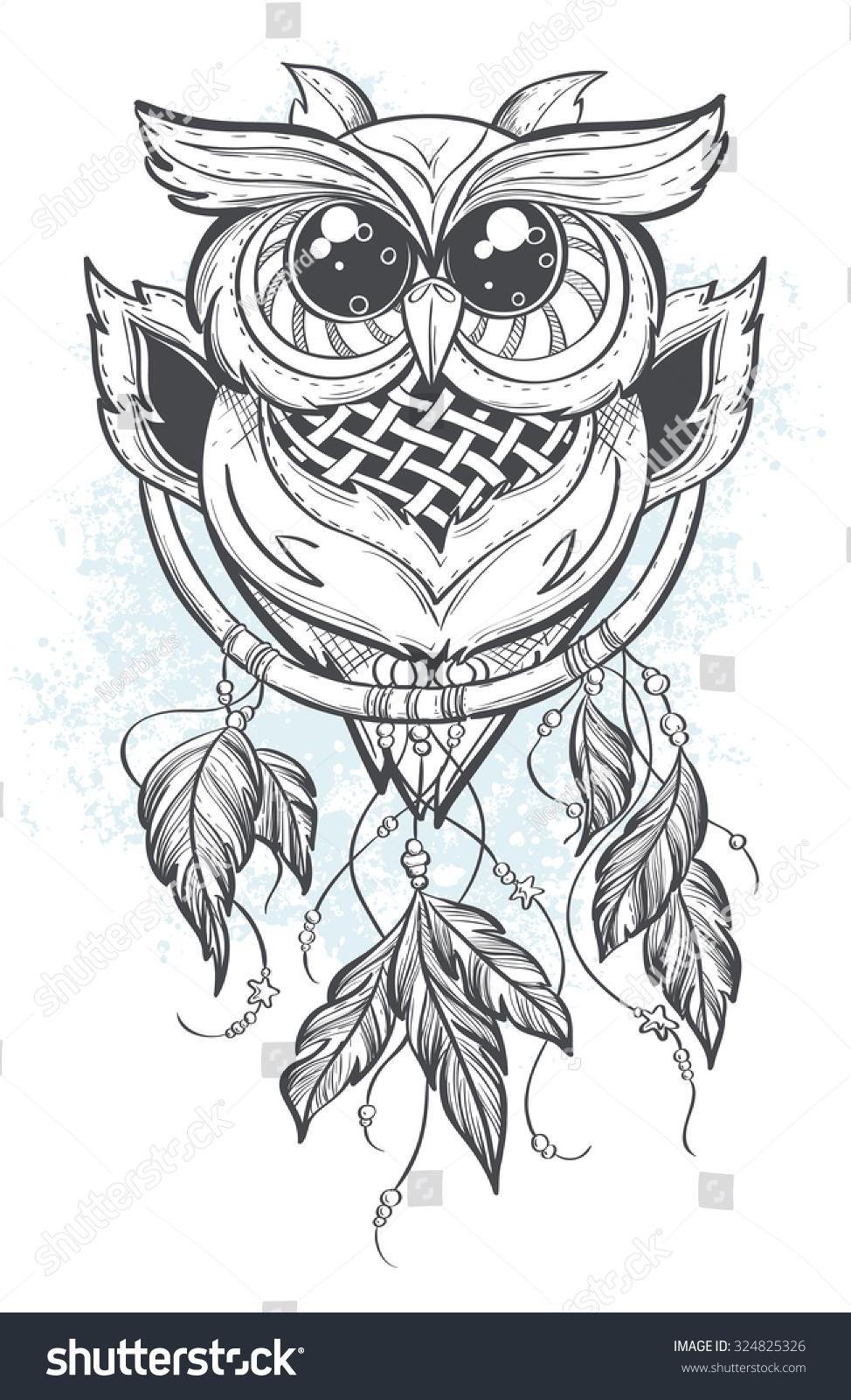 Owl dreamcatcher drawing - photo#34