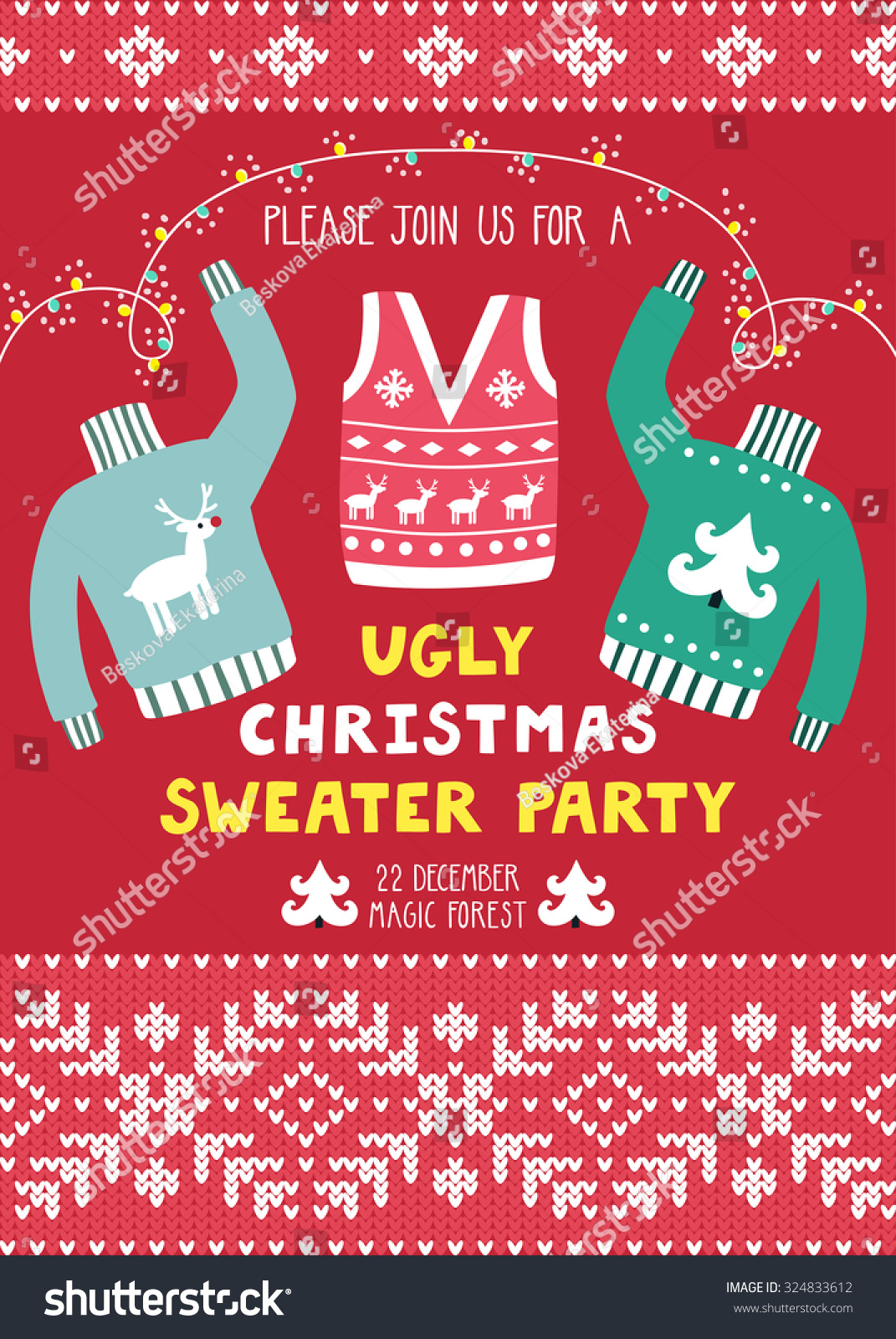 vector invitation template ugly sweaters scandinavian stock vector 324833612