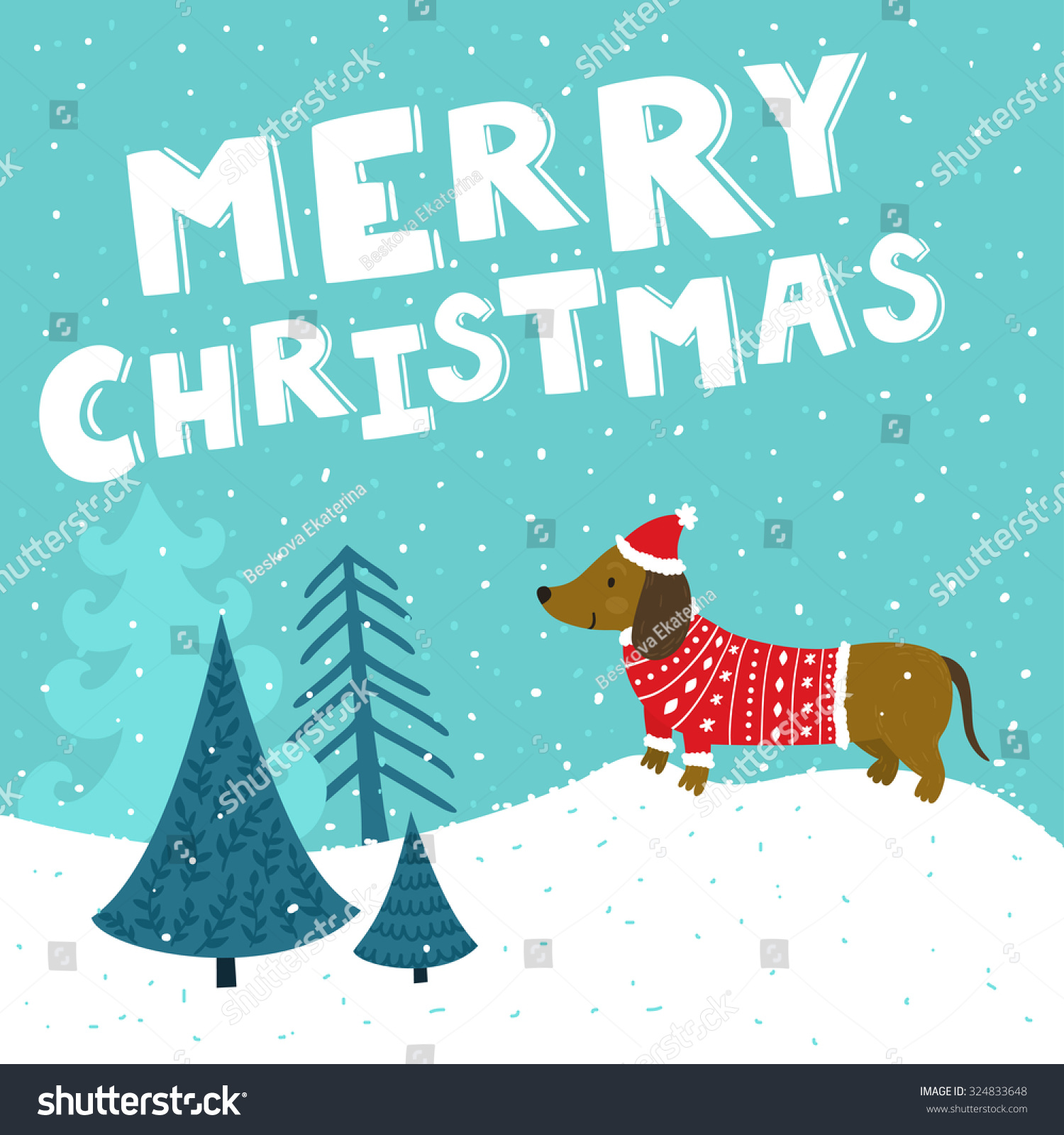 Vector christmas card cute dachshund santas stock vector 324833648 vector christmas card with cute dachshund in santas hat and knitted sweater holiday background with kristyandbryce Image collections