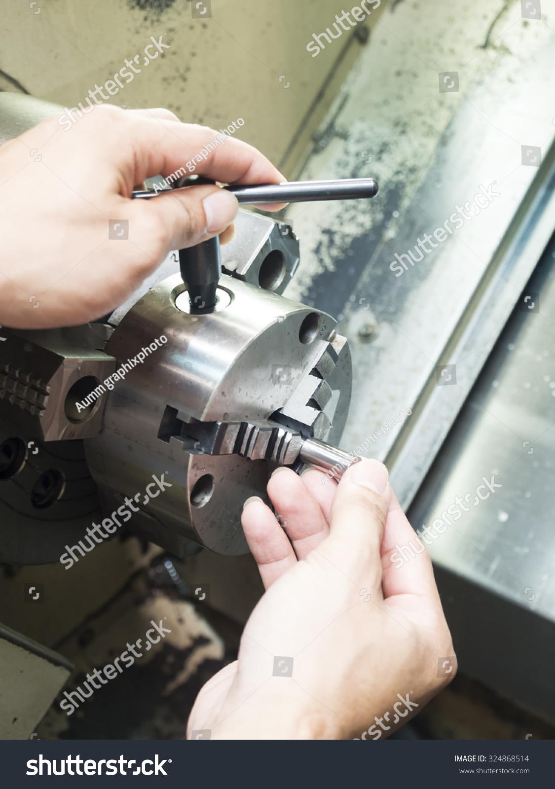Operator setup machining high precision… Stock Photo