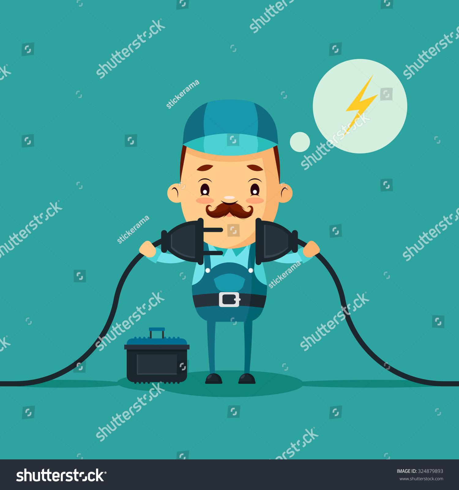 Cartoon Power Cord : Cute cartoon electrician connecting power cord stock