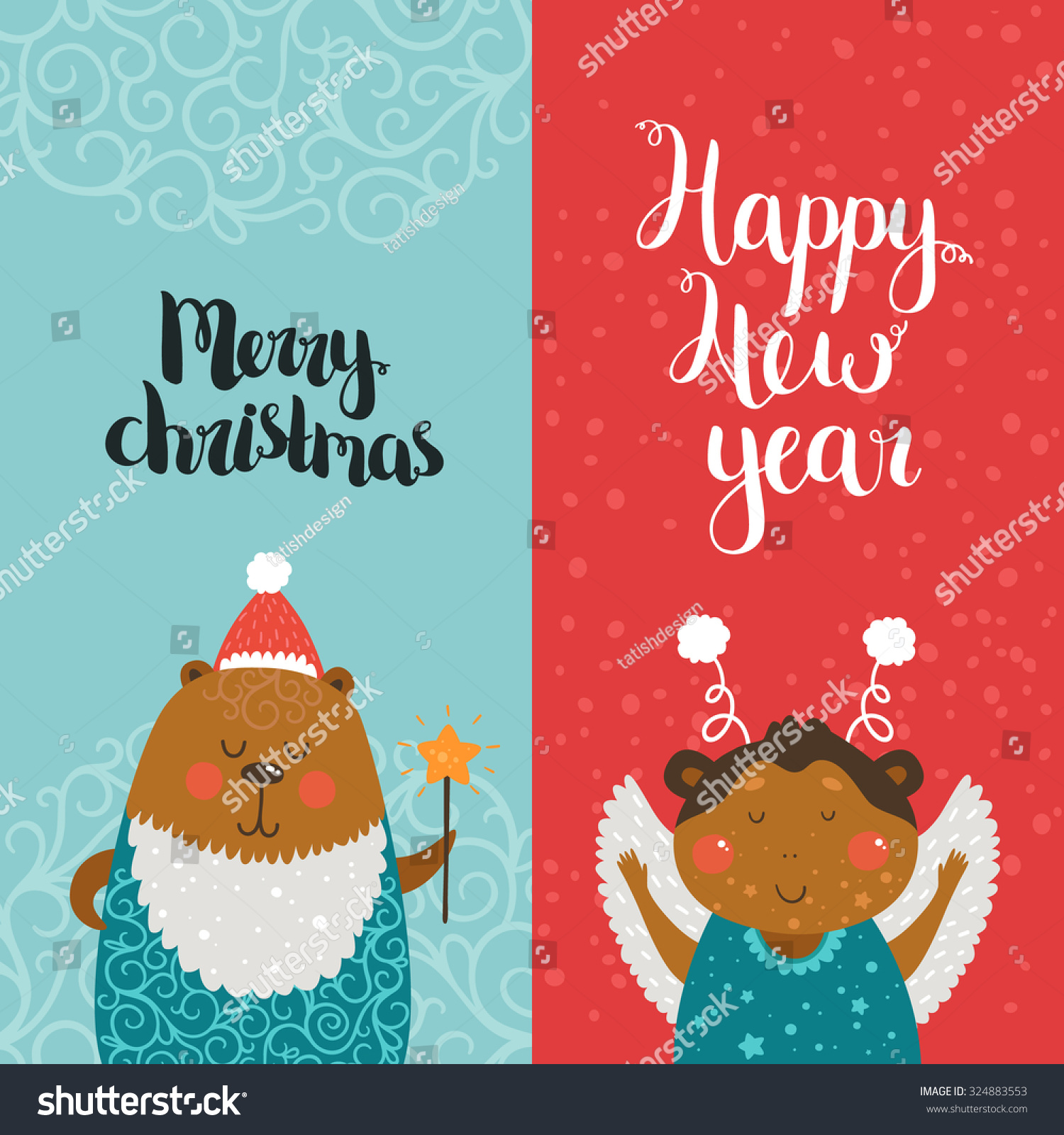 Merry Christmas Happy New Year Cards Stock Vector (Royalty Free ...