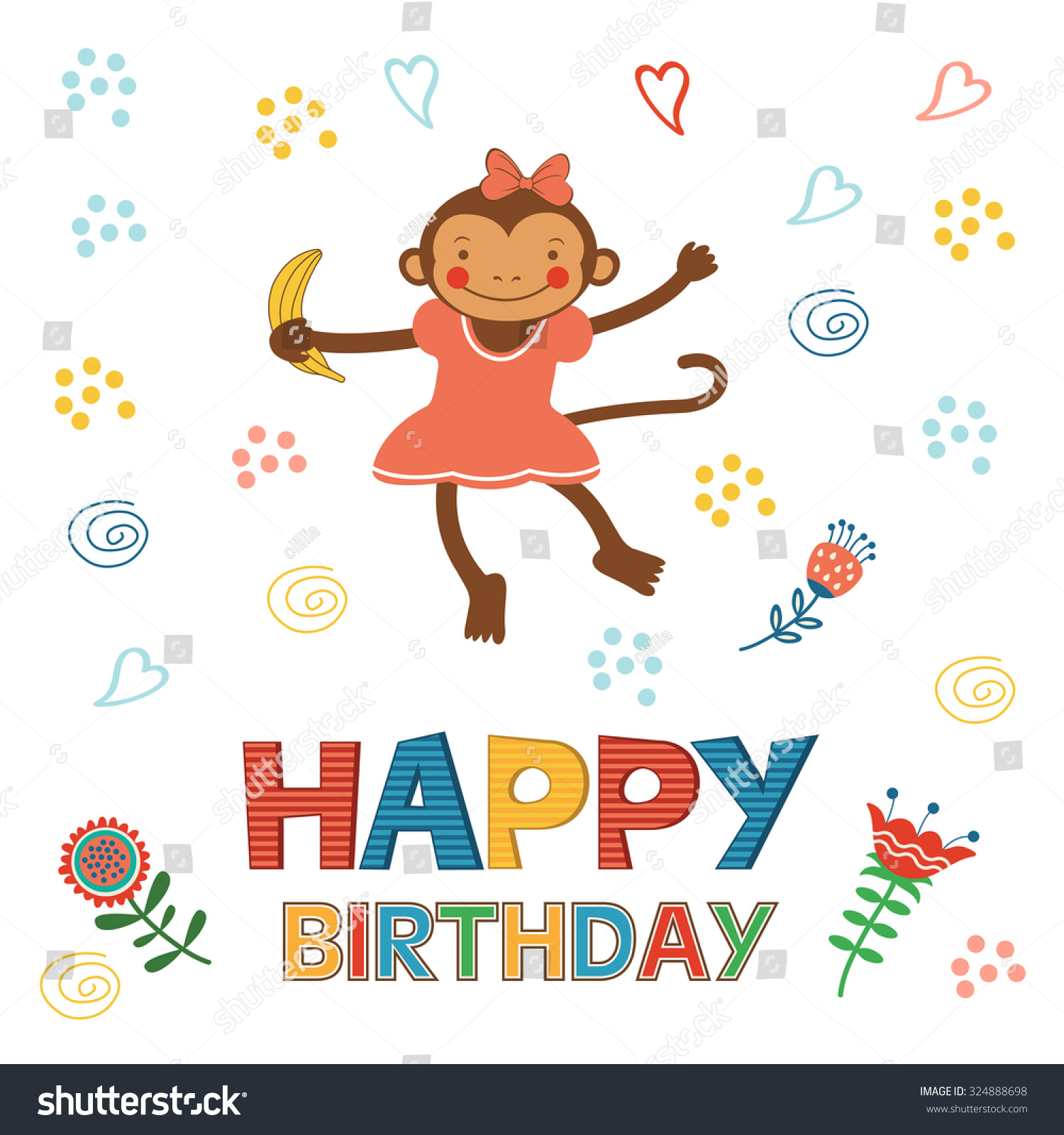 Stylish Happy Birthday Card Cute Monkey Vector 324888698 – Monkey Birthday Card