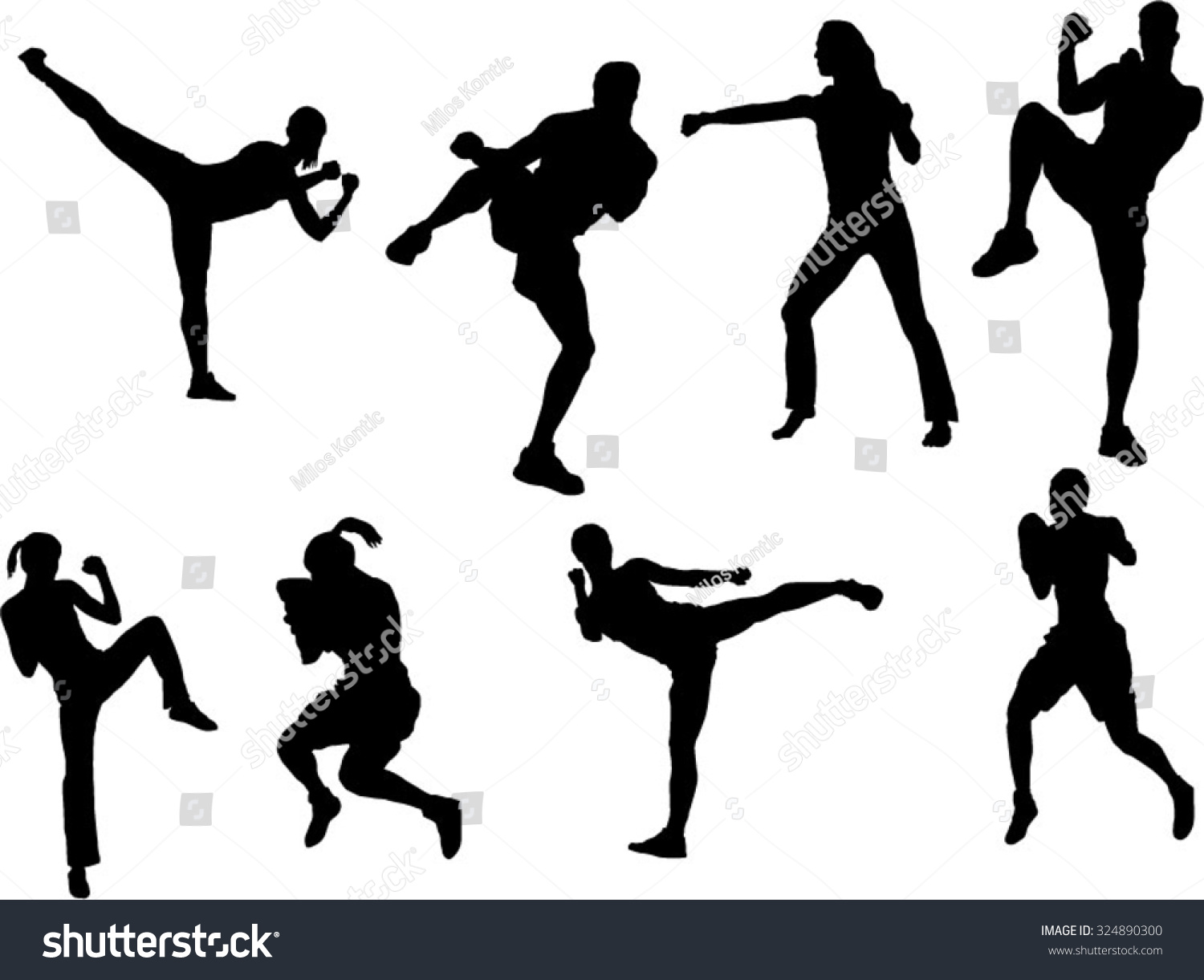 Set 8 tae bo silhouette stock vector (royalty free) 324890300.