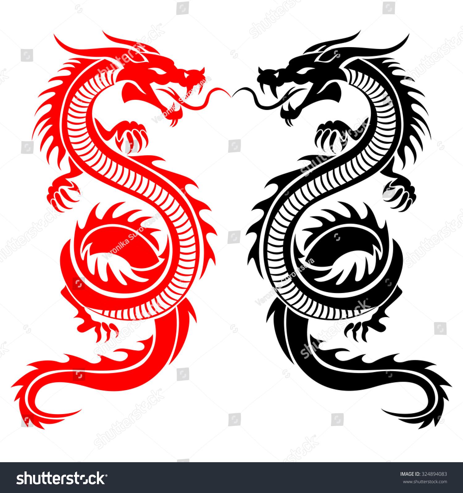 Black Red Tribal Dragon Tattoo Vector Stock