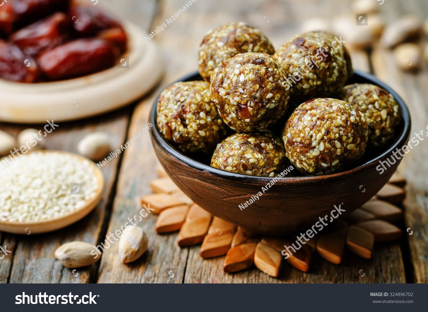 Raw Vegan Dates Sesame Pistachio Balls. Toning. Selective Focus Stock ...