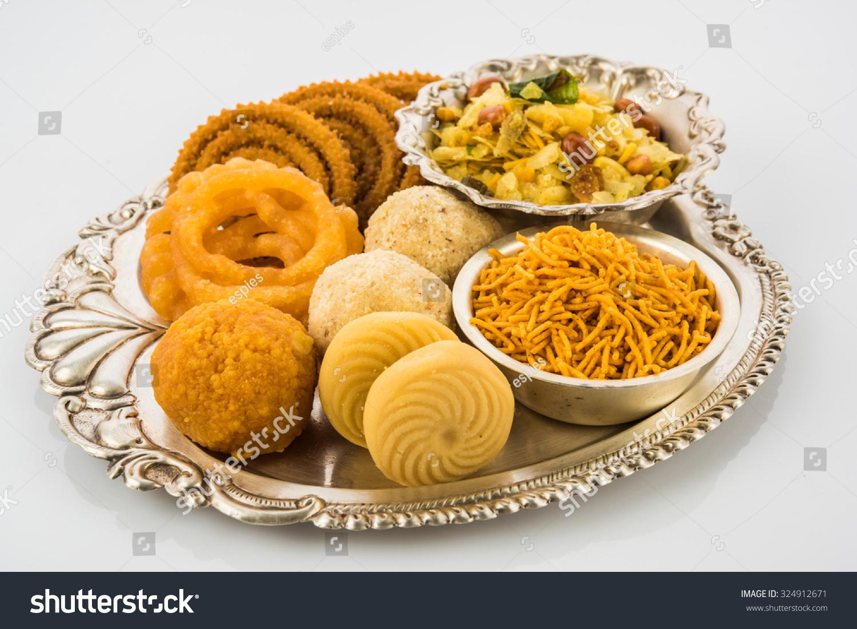 Diwali Food Snacks Sweets Silver Plate Stock Photo (Royalty Free ... for Deepavali Celebration Food  165jwn