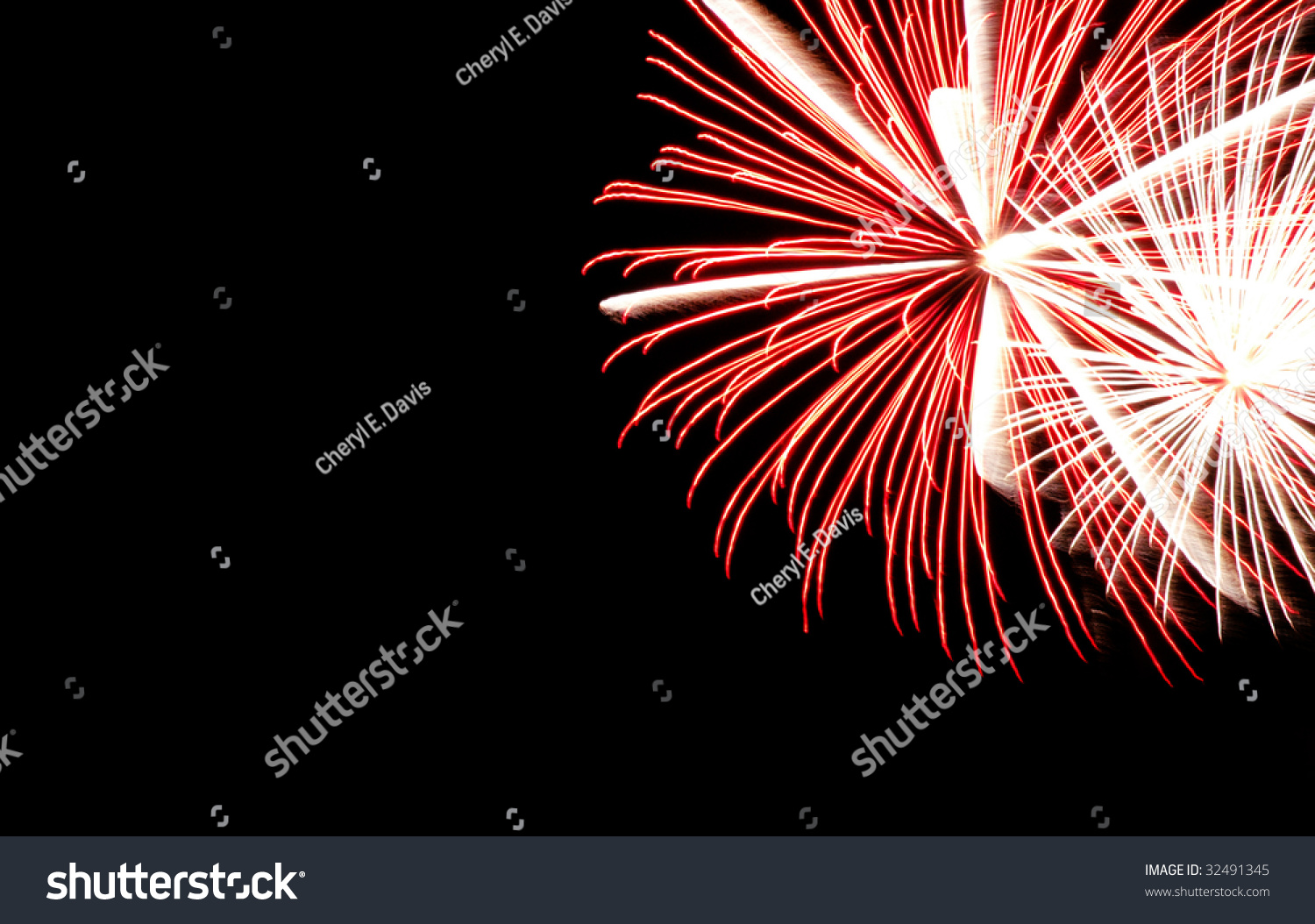 Red Fireworks Free Stock Photo: Red And White Fireworks Burst In Upper Right Corner
