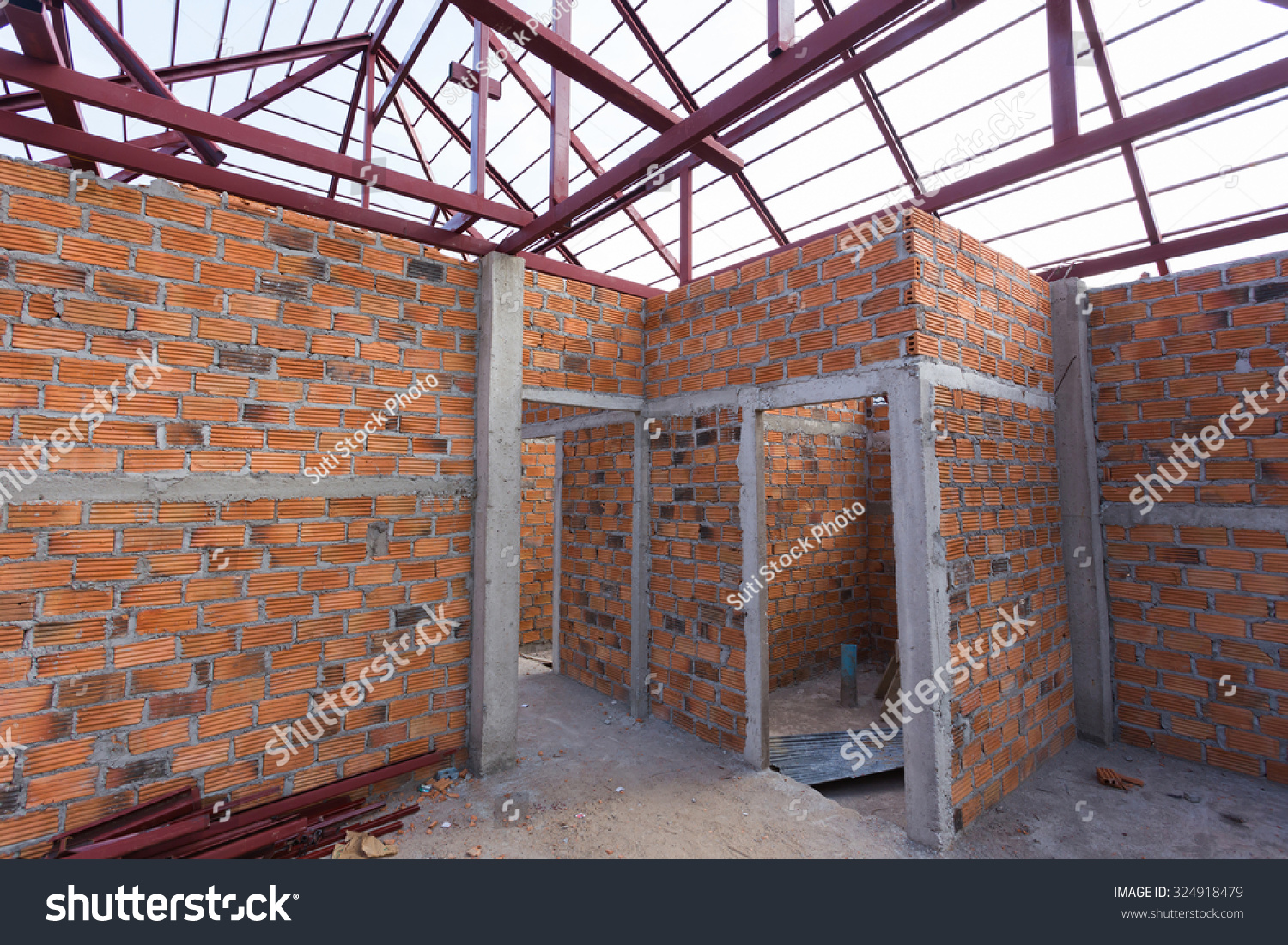 Structural Steel Beam On Roof Brick Stock Photo 324918479