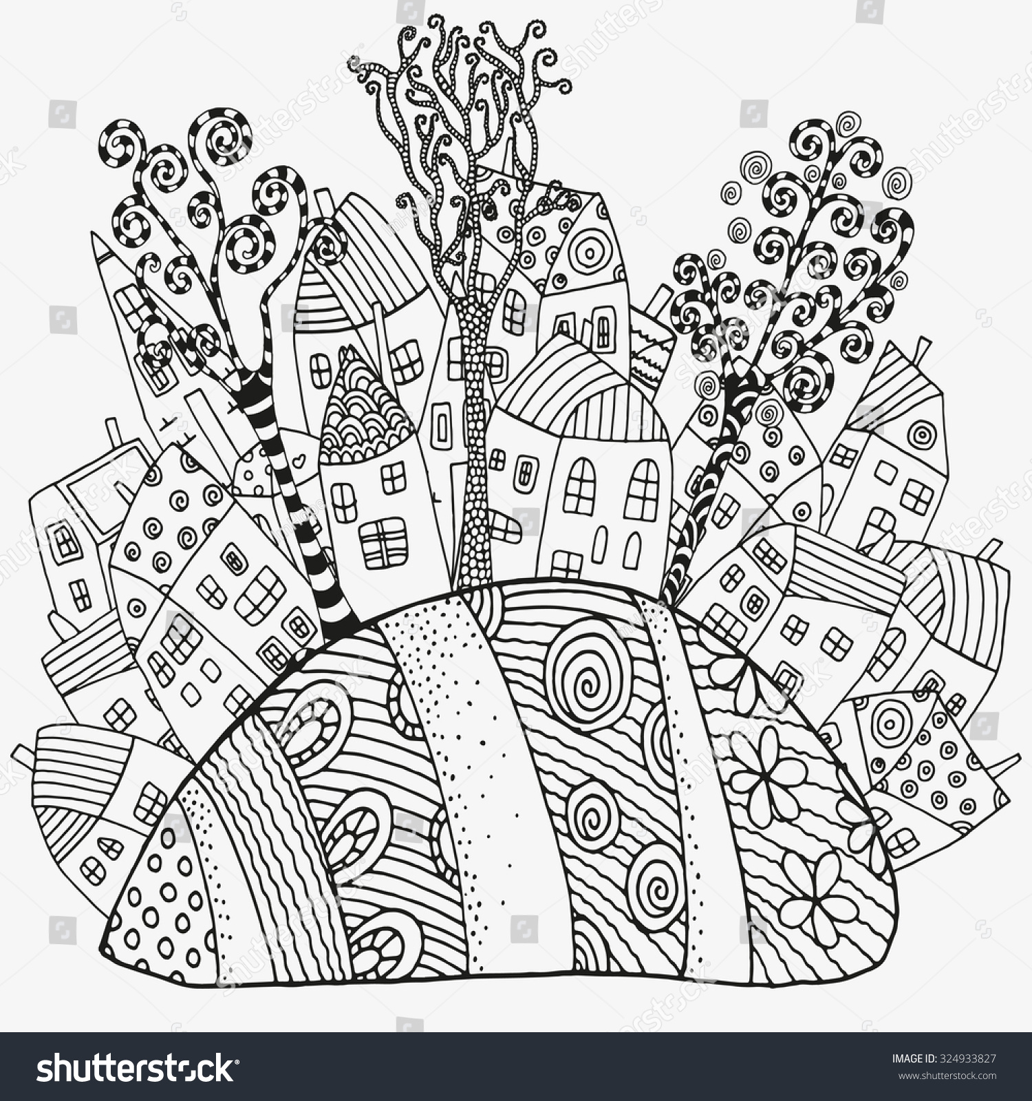 Pattern For Coloring Book With Artistically Houses Magic City Fields Trees Landscape