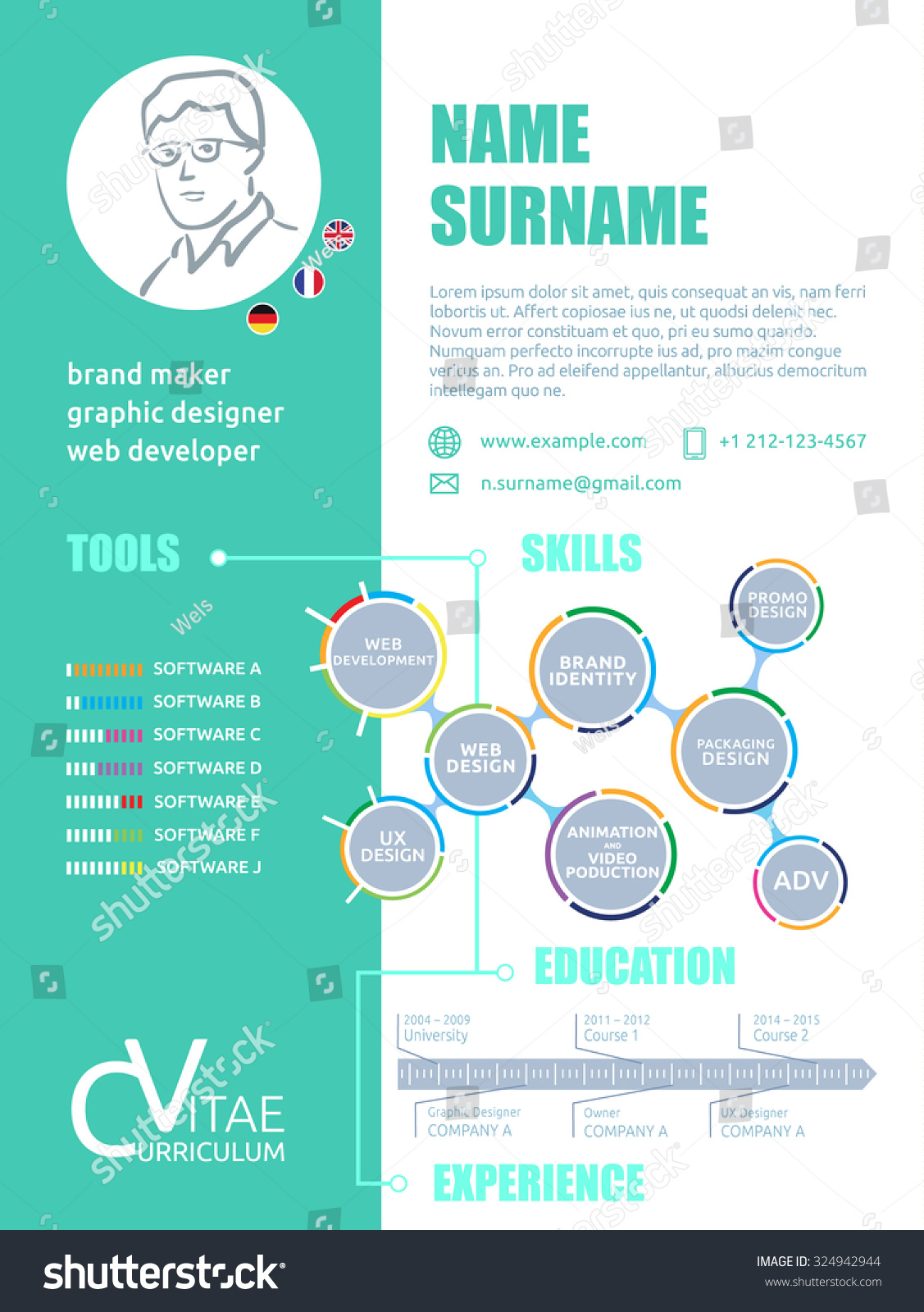 cv brief resume cv template graphic stock vector 324942944