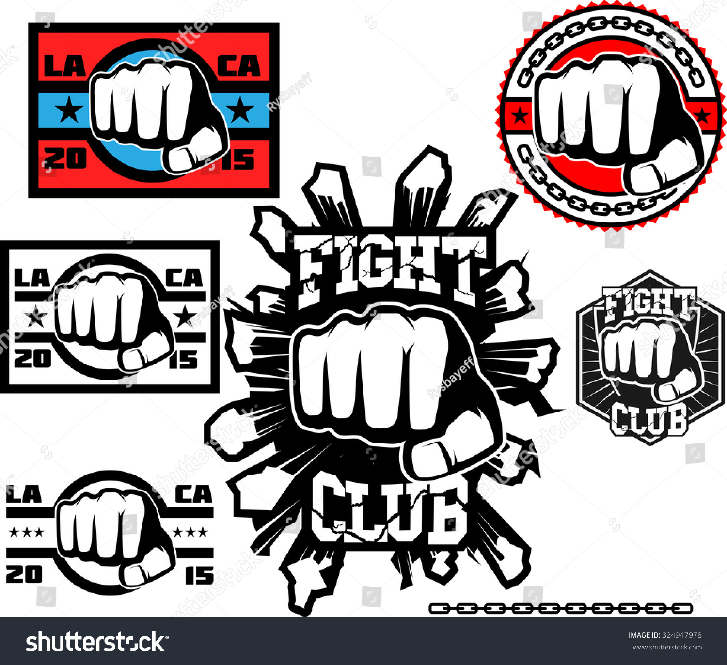 fight club logo set mixed martial stock vector 324947978