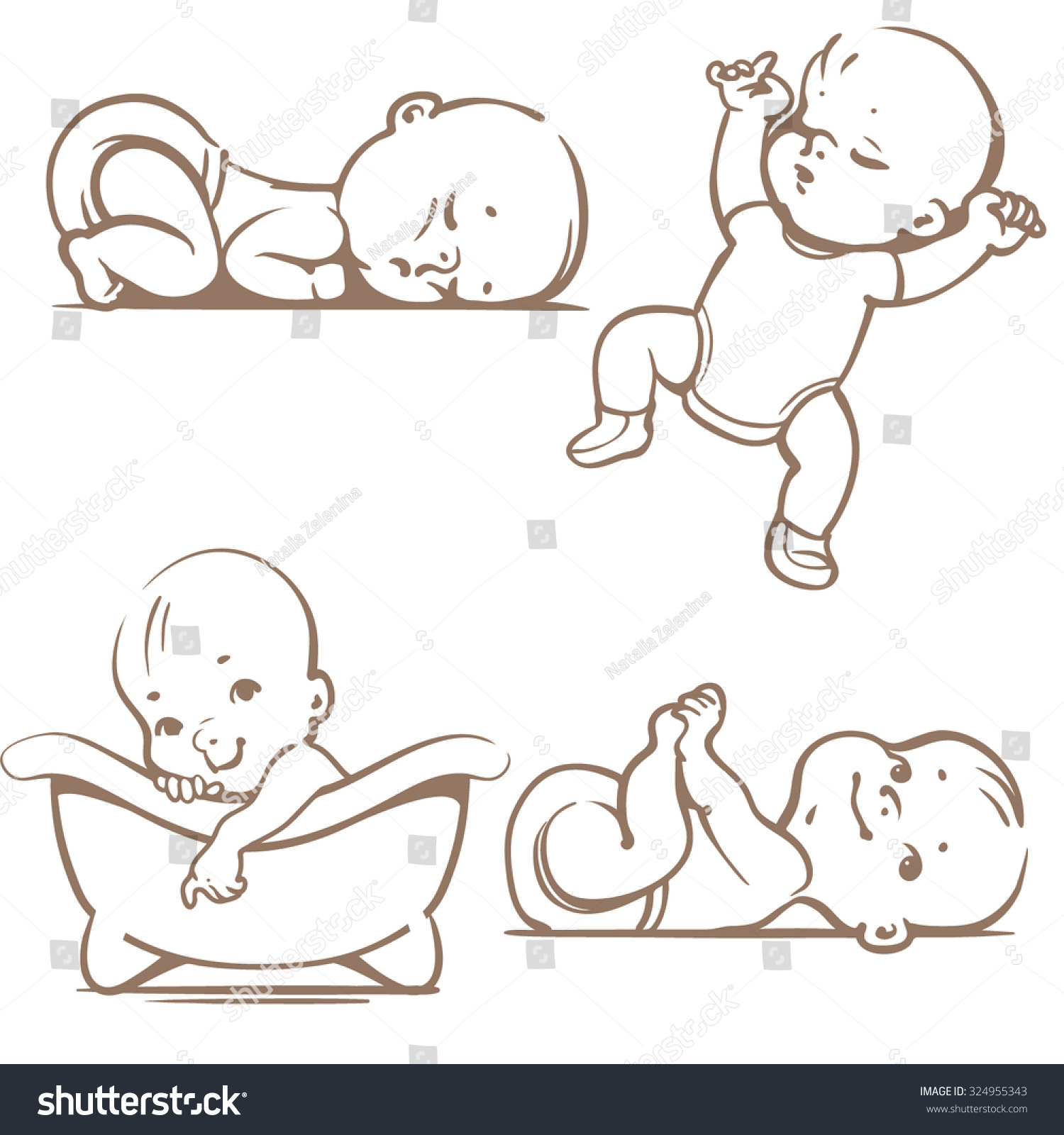 Line Art Baby : Cute baby boys girls sleeping positions stock vector