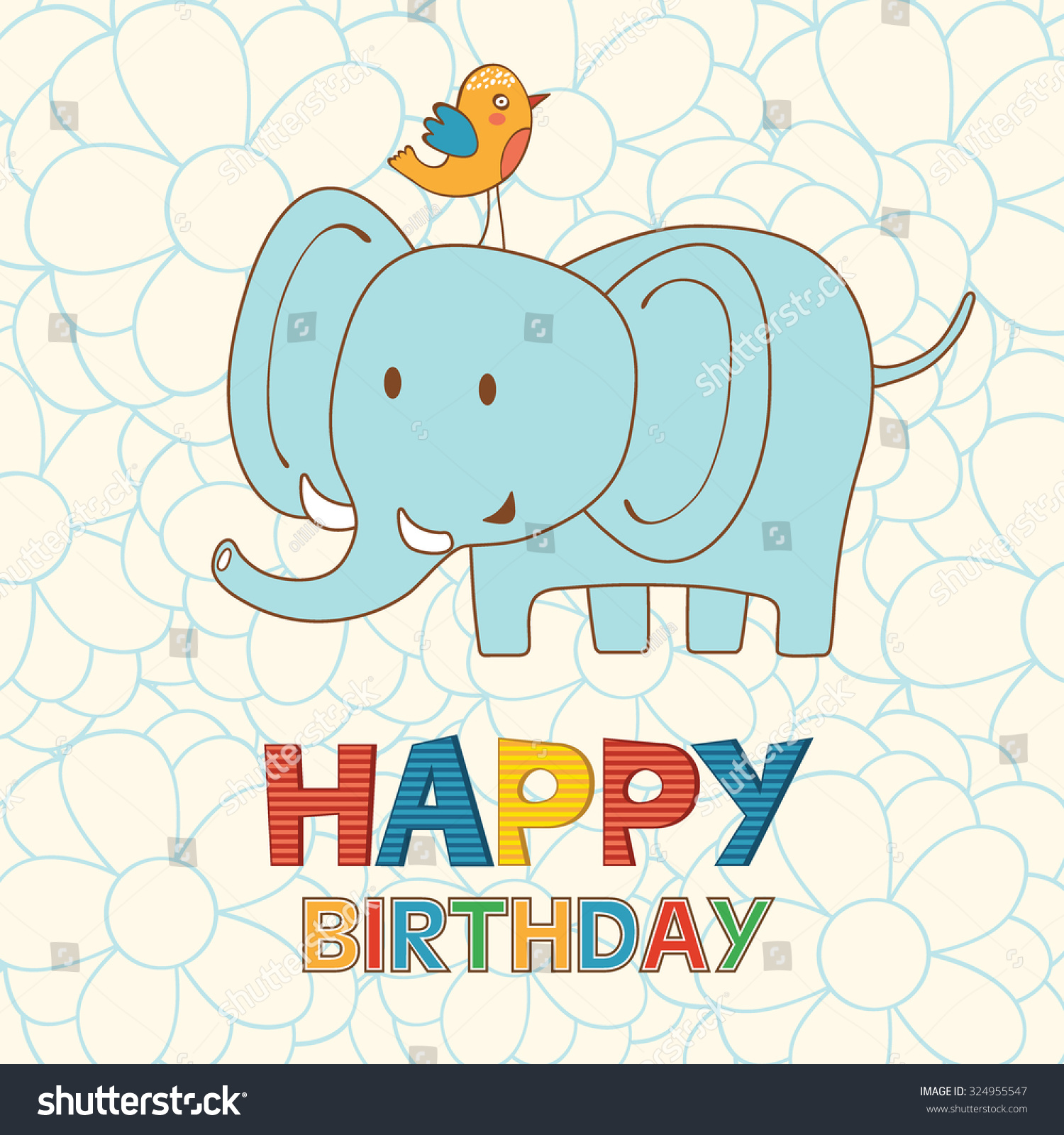 Cute Happy Birthday Card Funny Elephant Vector 324955547 – Unique Happy Birthday Greetings