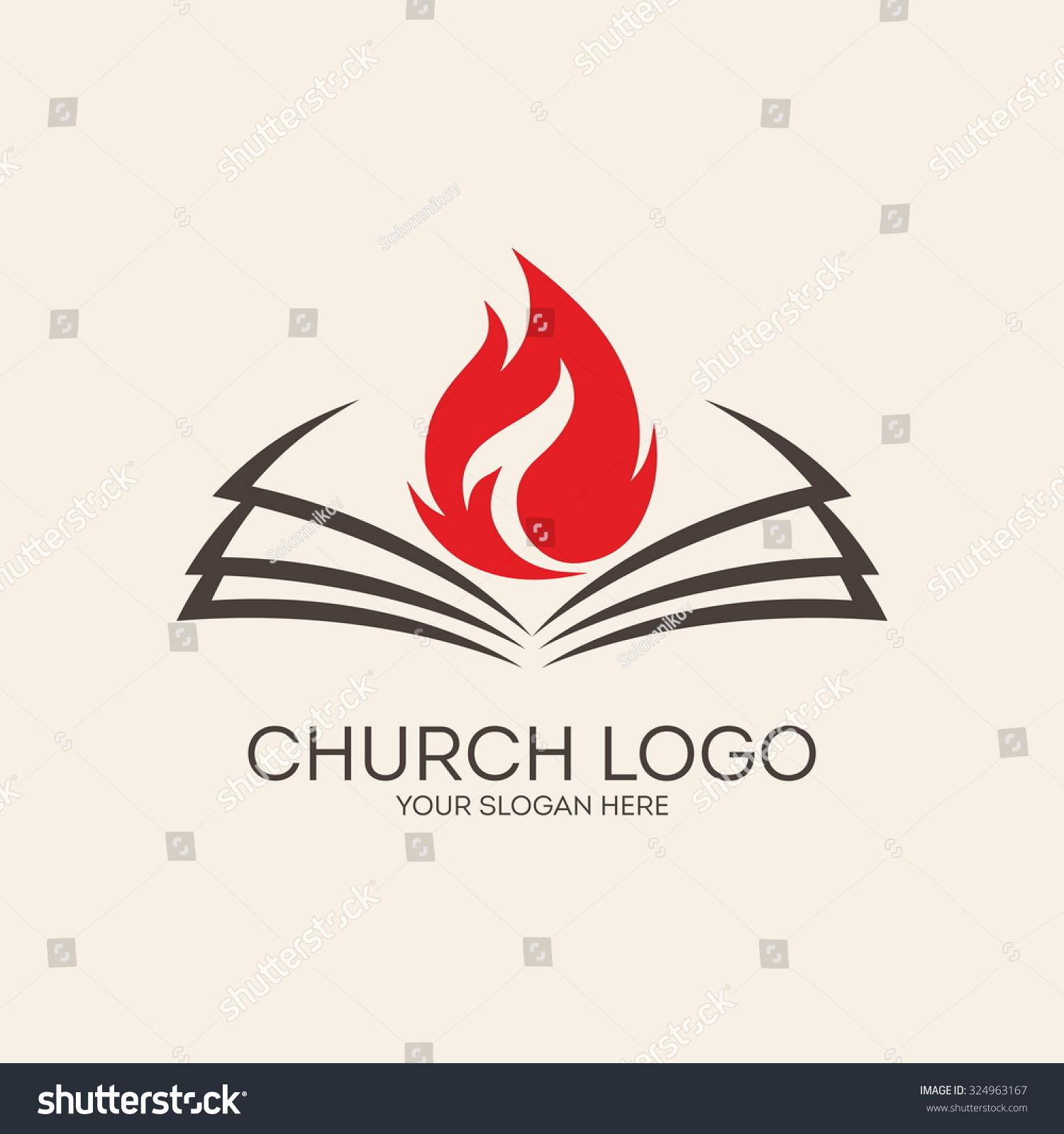 Church Logo Flame Open Bible Stock Vector (Royalty Free