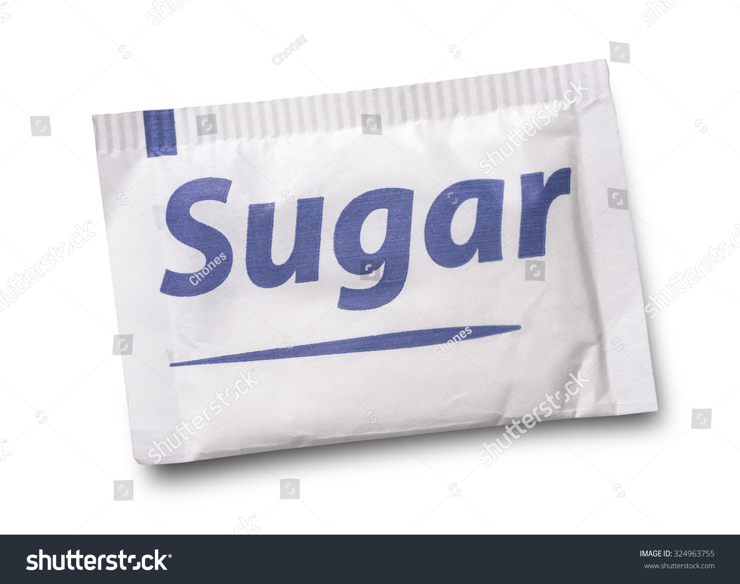 Small sugar packet isolated on white  #324963755