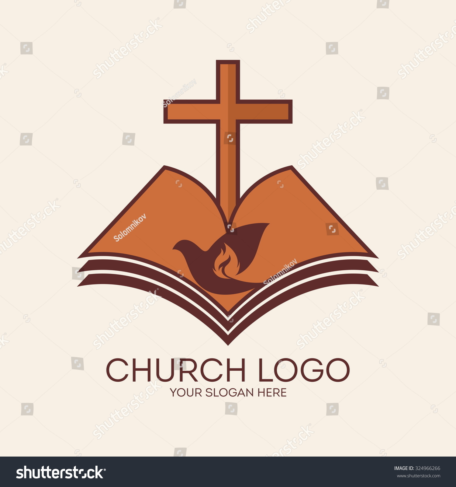 Royalty free church logo cross and open bible dove 324966266 church logo cross and open bible dove and flame 324966266 altavistaventures Choice Image